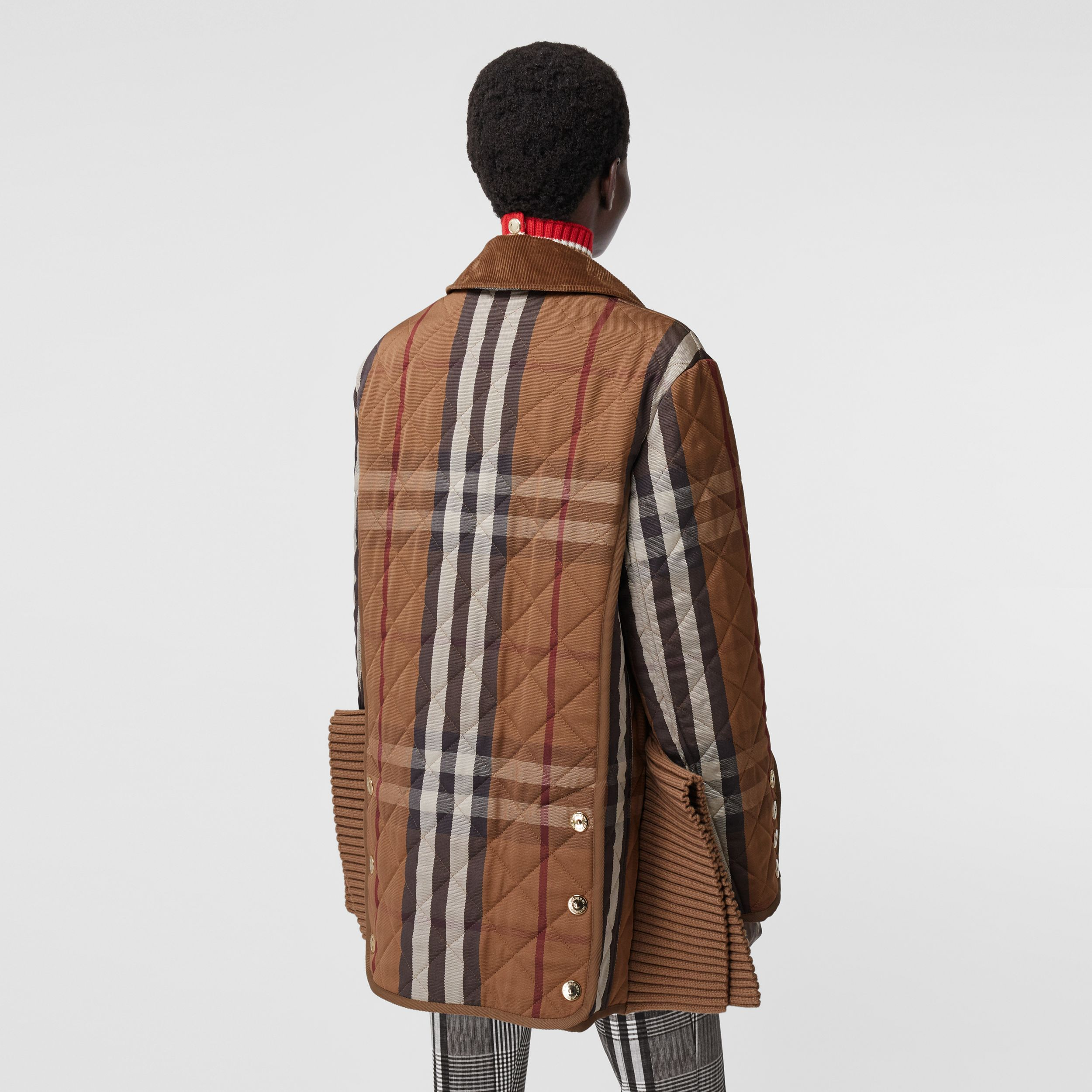 Rib Knit Panel Check Technical Cotton Barn Jacket in Birch Brown - Women | Burberry - 3