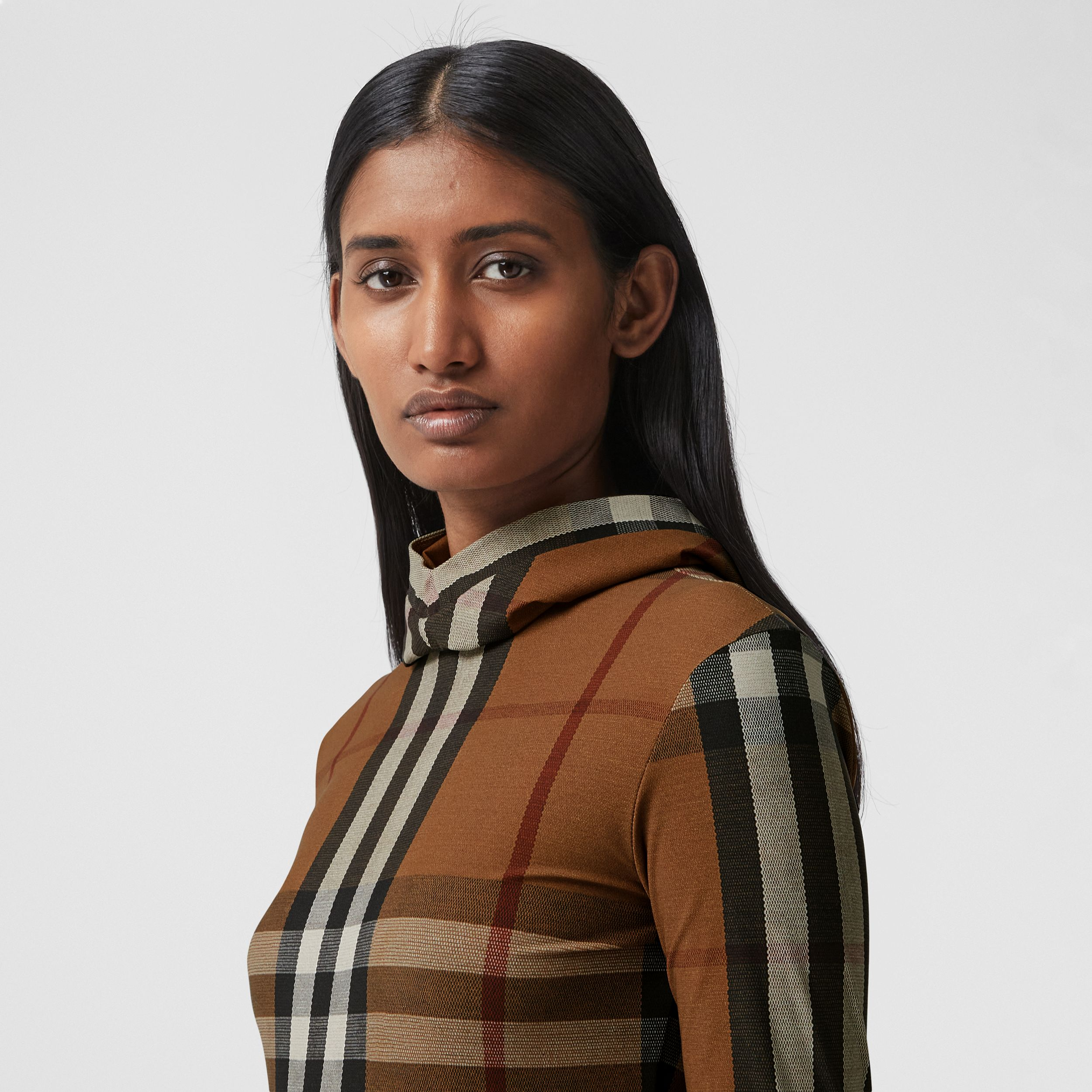 Check Stretch Jersey Hooded Top in Birch Brown - Women | Burberry - 2