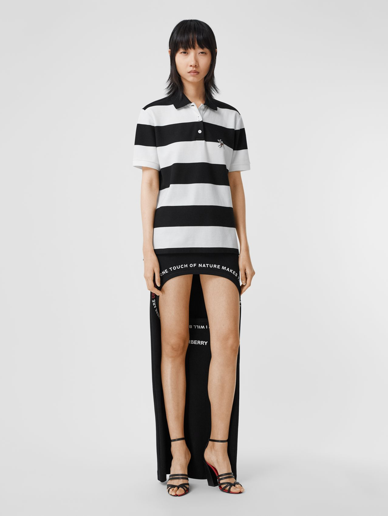Deer Motif Striped Cotton Piqué Oversized Polo Shirt in Black