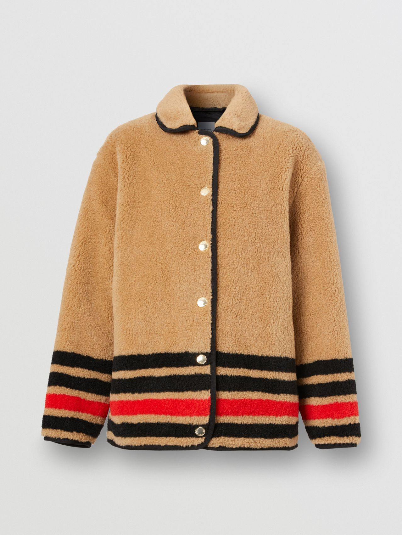 Stripe Intarsia Fleece Jacket in Light Camel