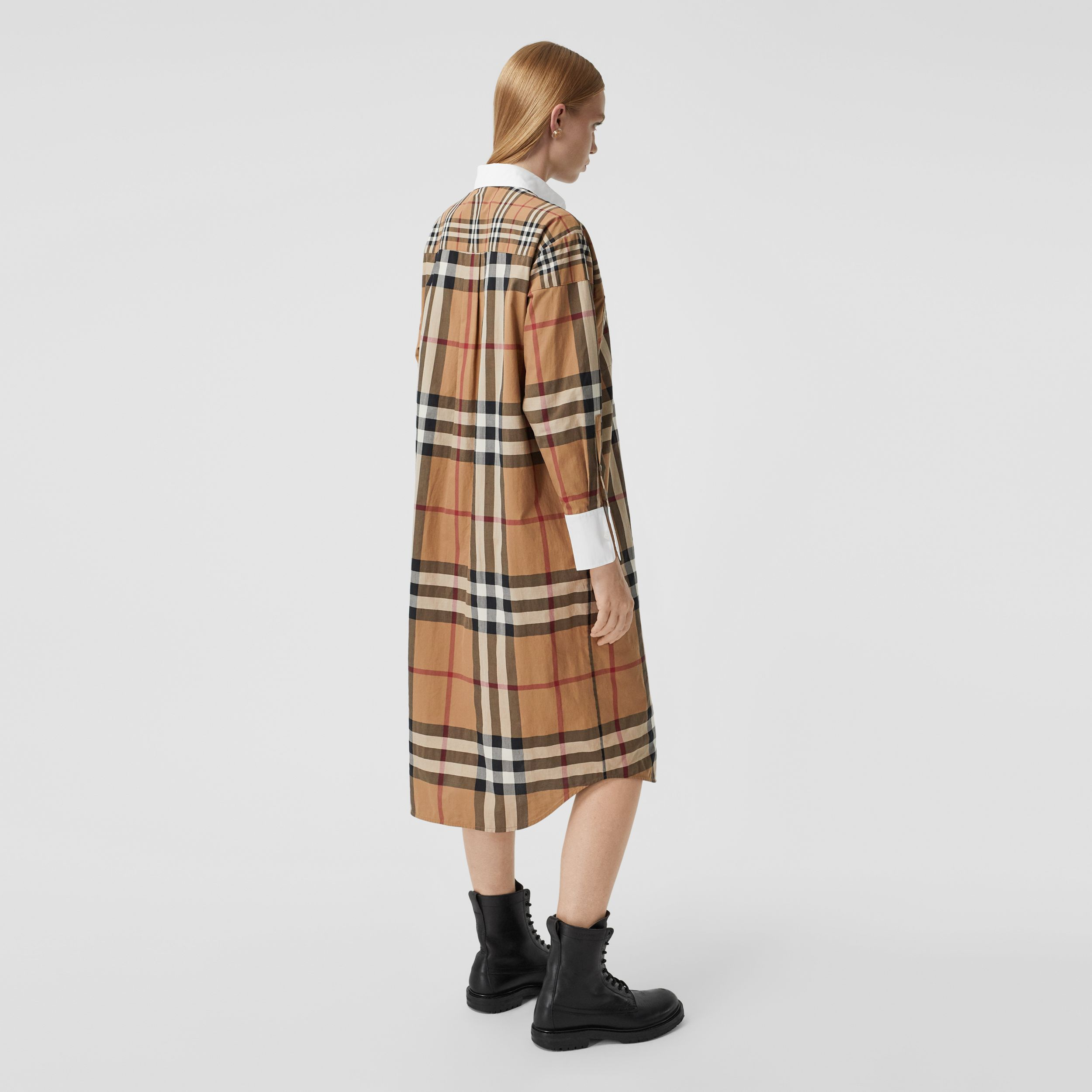 Contrast Check Cotton Oversized Shirt Dress in Birch Brown - Women | Burberry Australia - 3