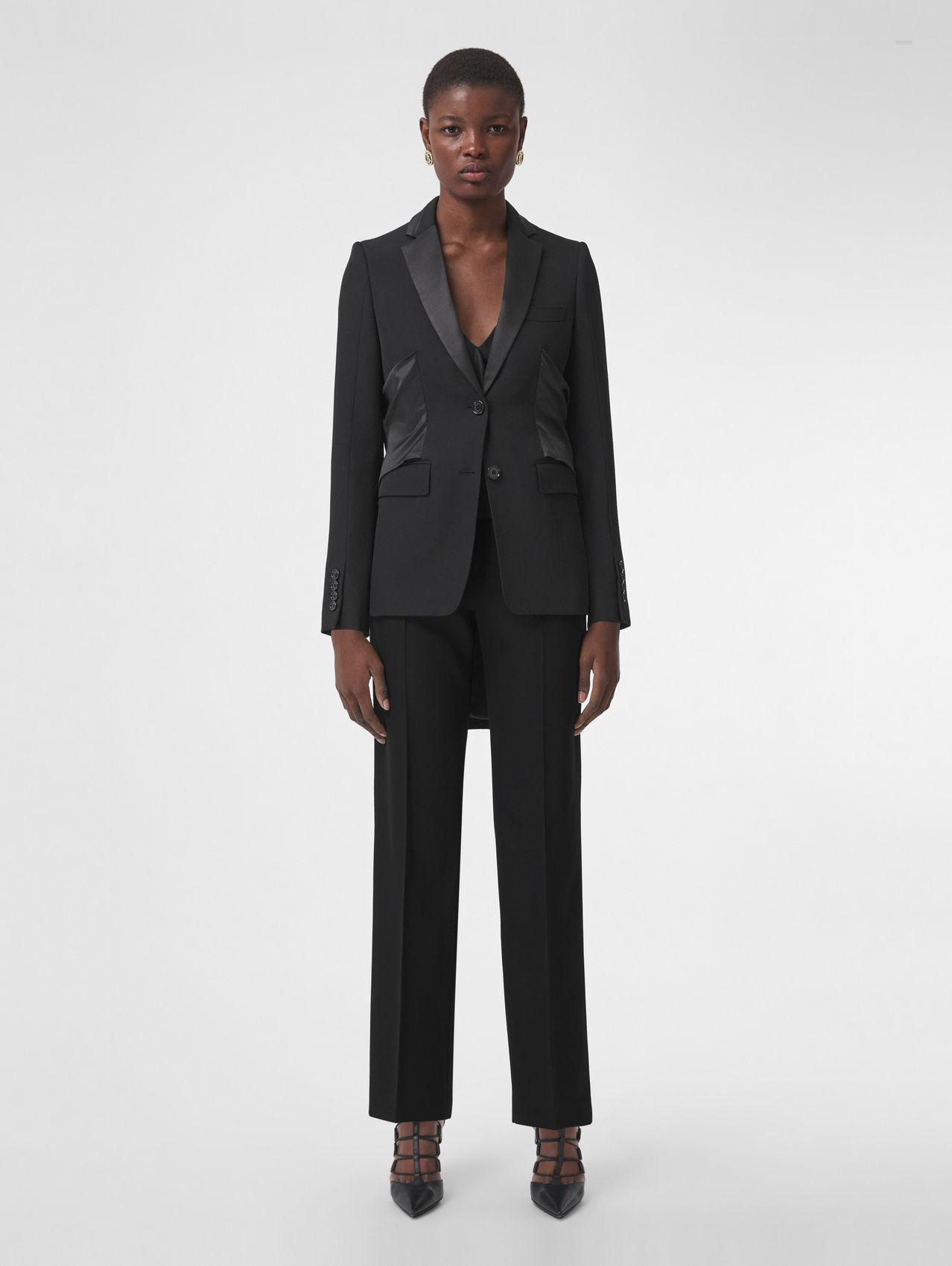 Grain de Poudre Wool Tuxedo Trousers in Black