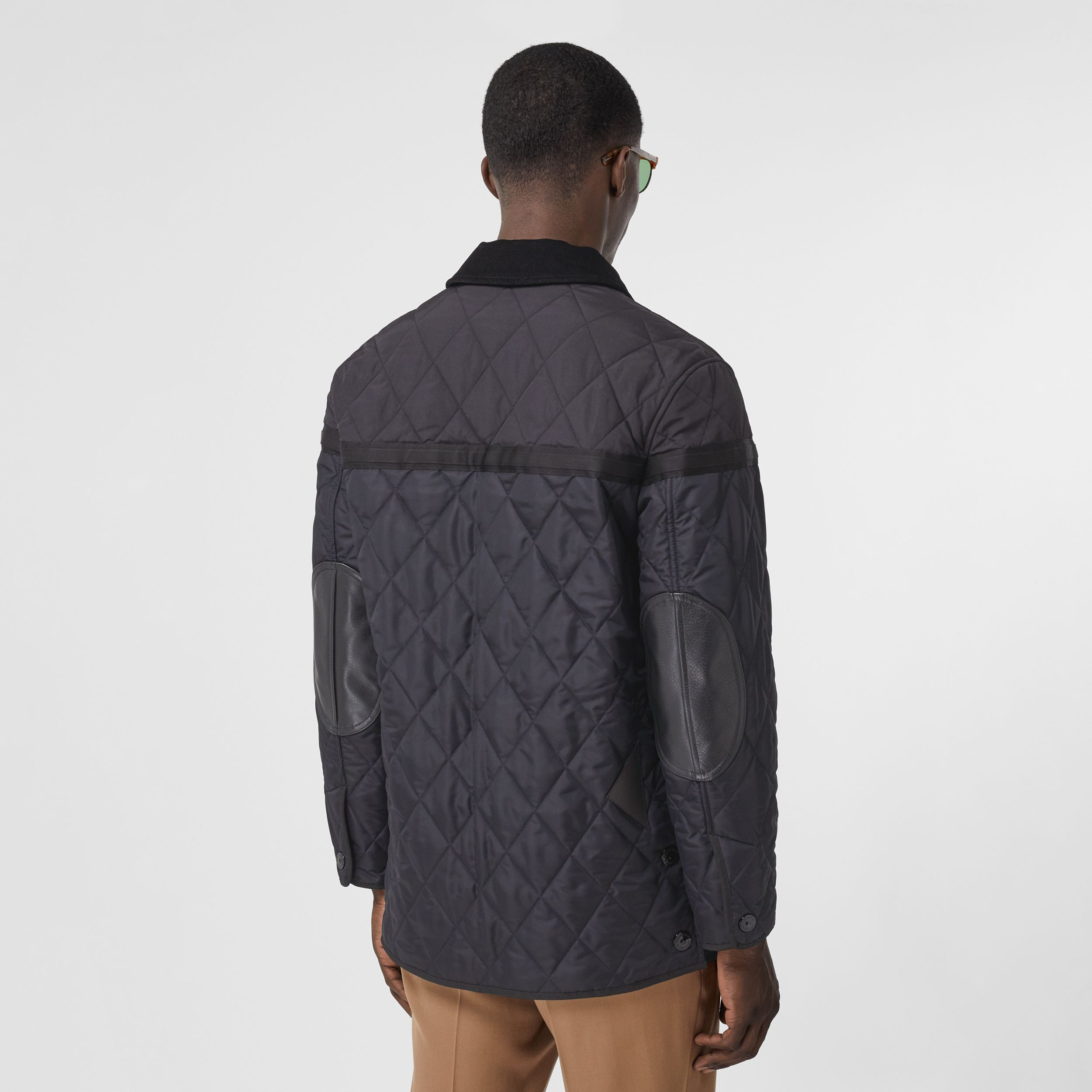 Diamond Quilted Nylon Canvas Barn Jacket in Navy - Men | Burberry - 3