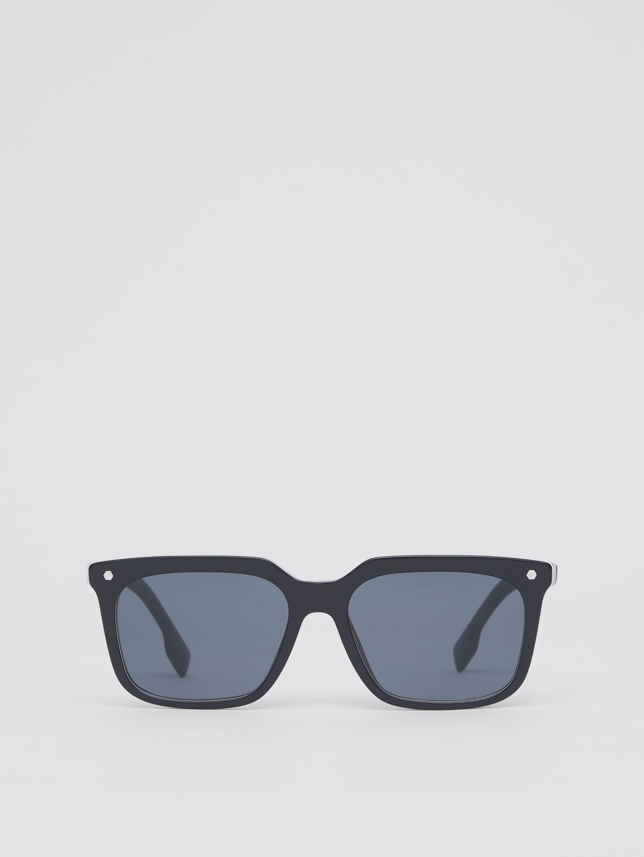Stripe Detail Square Frame Sunglasses in Blue