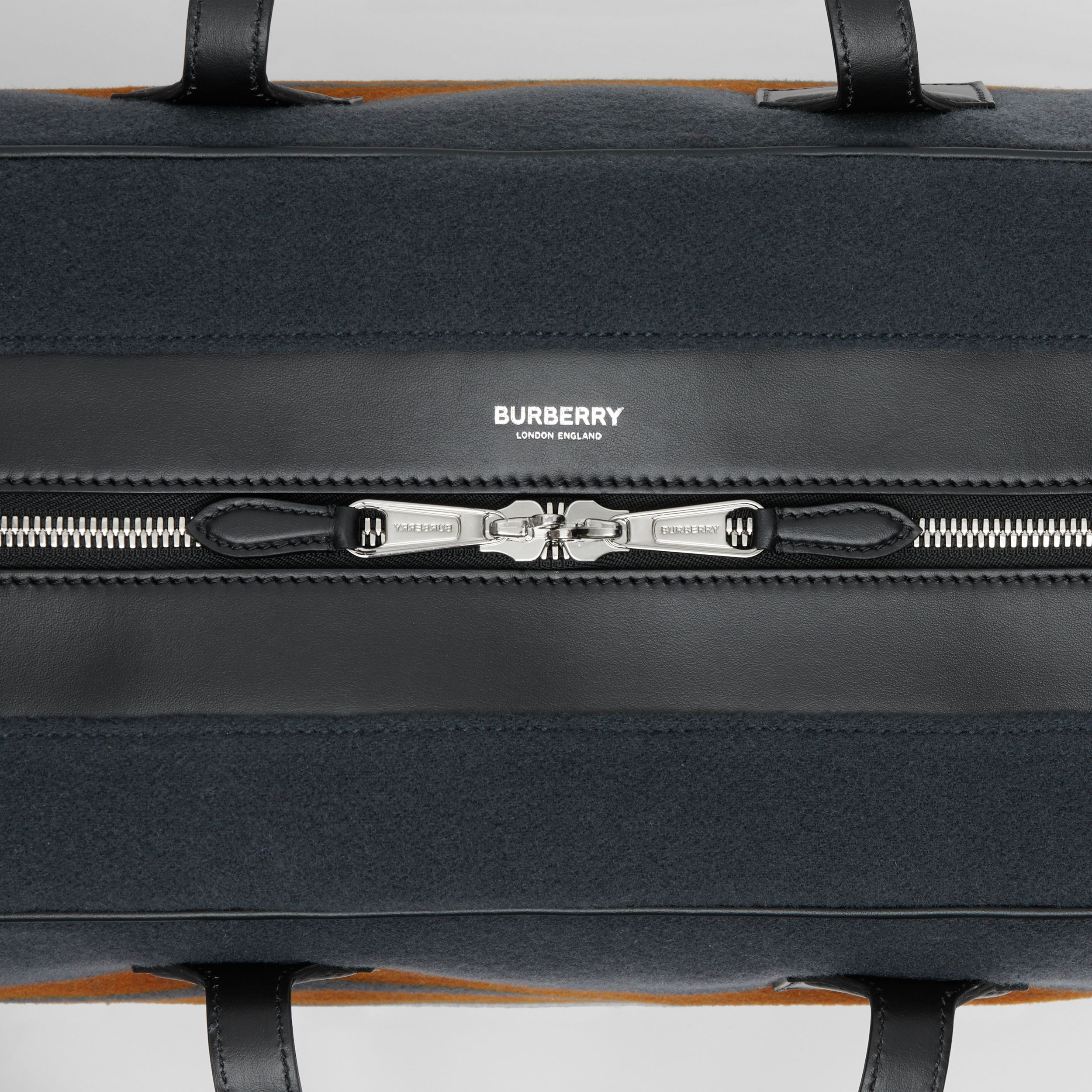 Striped Wool and Leather Cube Holdall in Mid Grey - Men | Burberry Hong Kong S.A.R. - 2