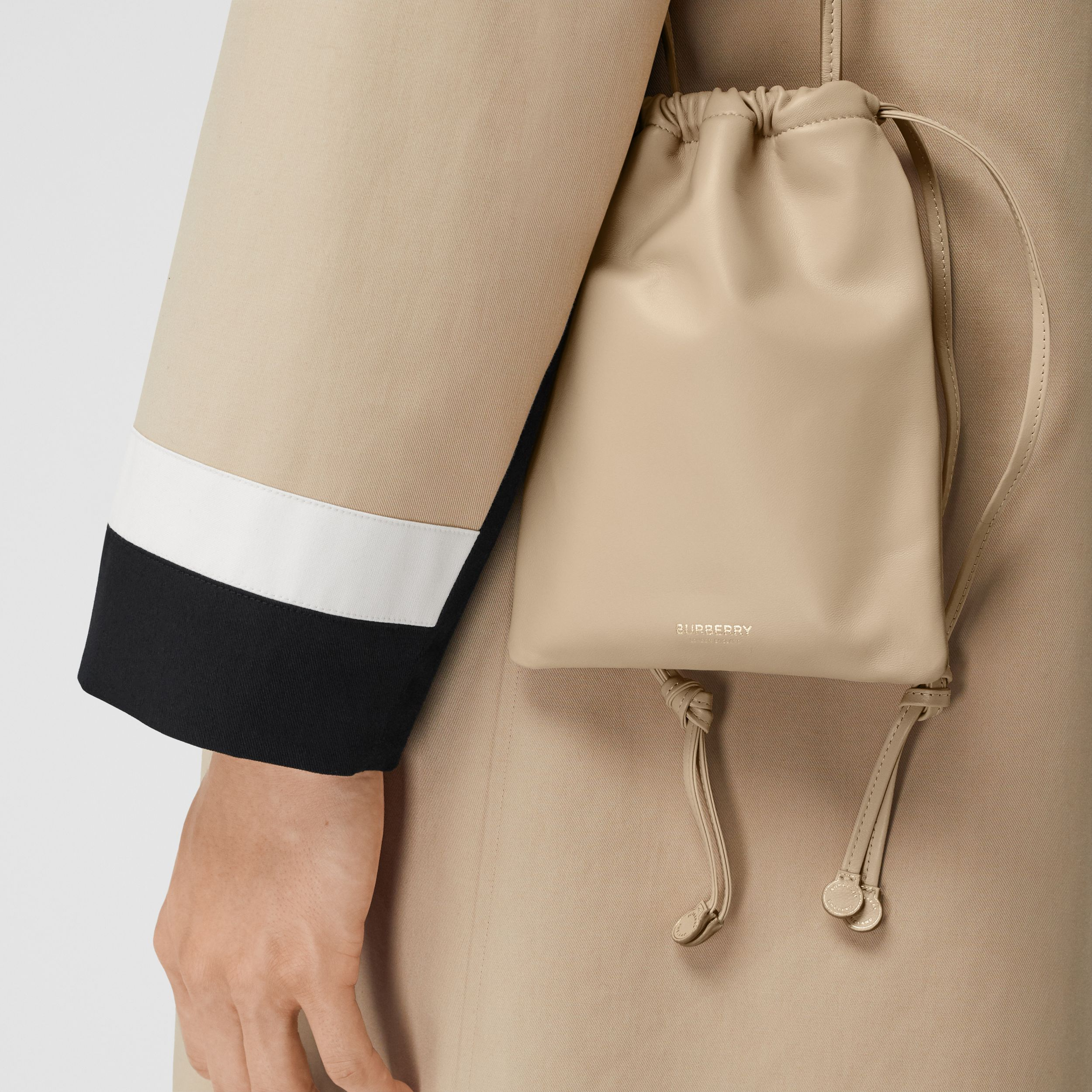 Small Lambskin Drawcord Pouch in Sesame | Burberry - 4