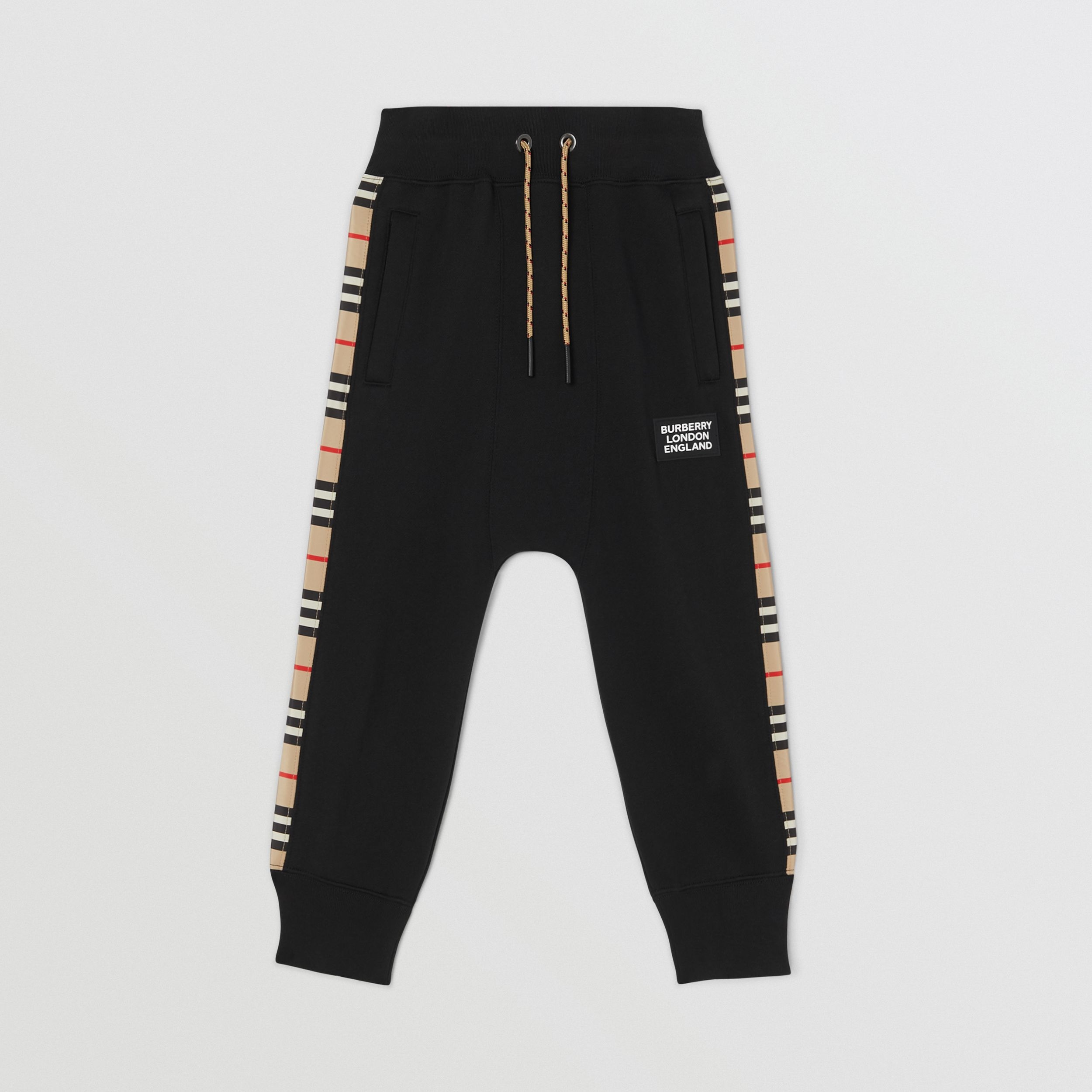 Icon Stripe Panel Cotton Jogging Pants in Black | Burberry - 1