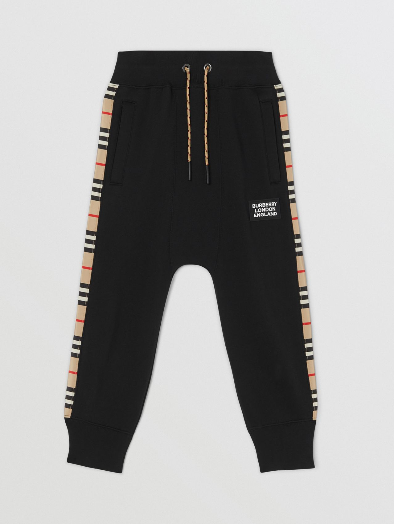 Icon Stripe Panel Cotton Trackpants in Black