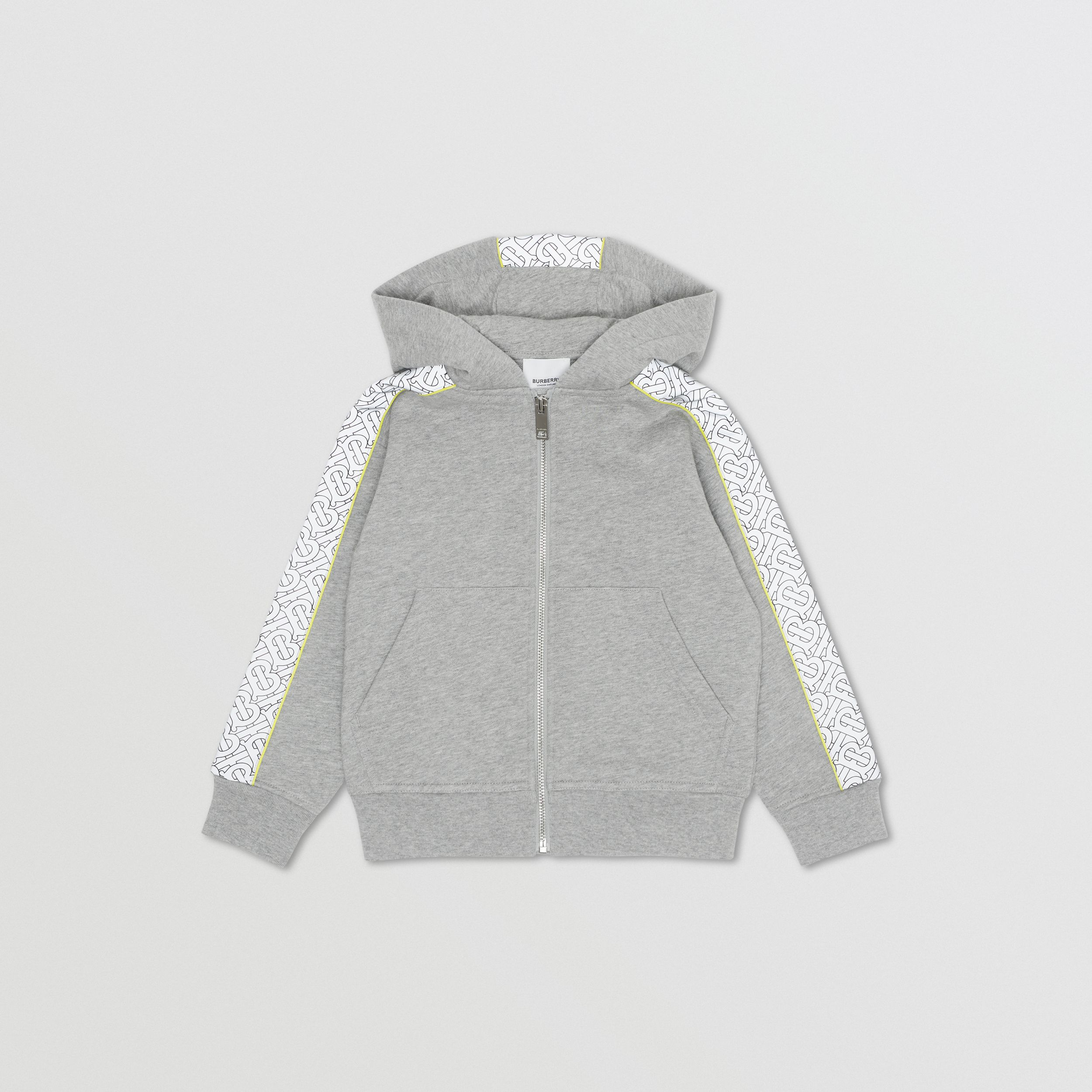 Monogram Print Panel Cotton Hooded Top in Grey Melange | Burberry - 1