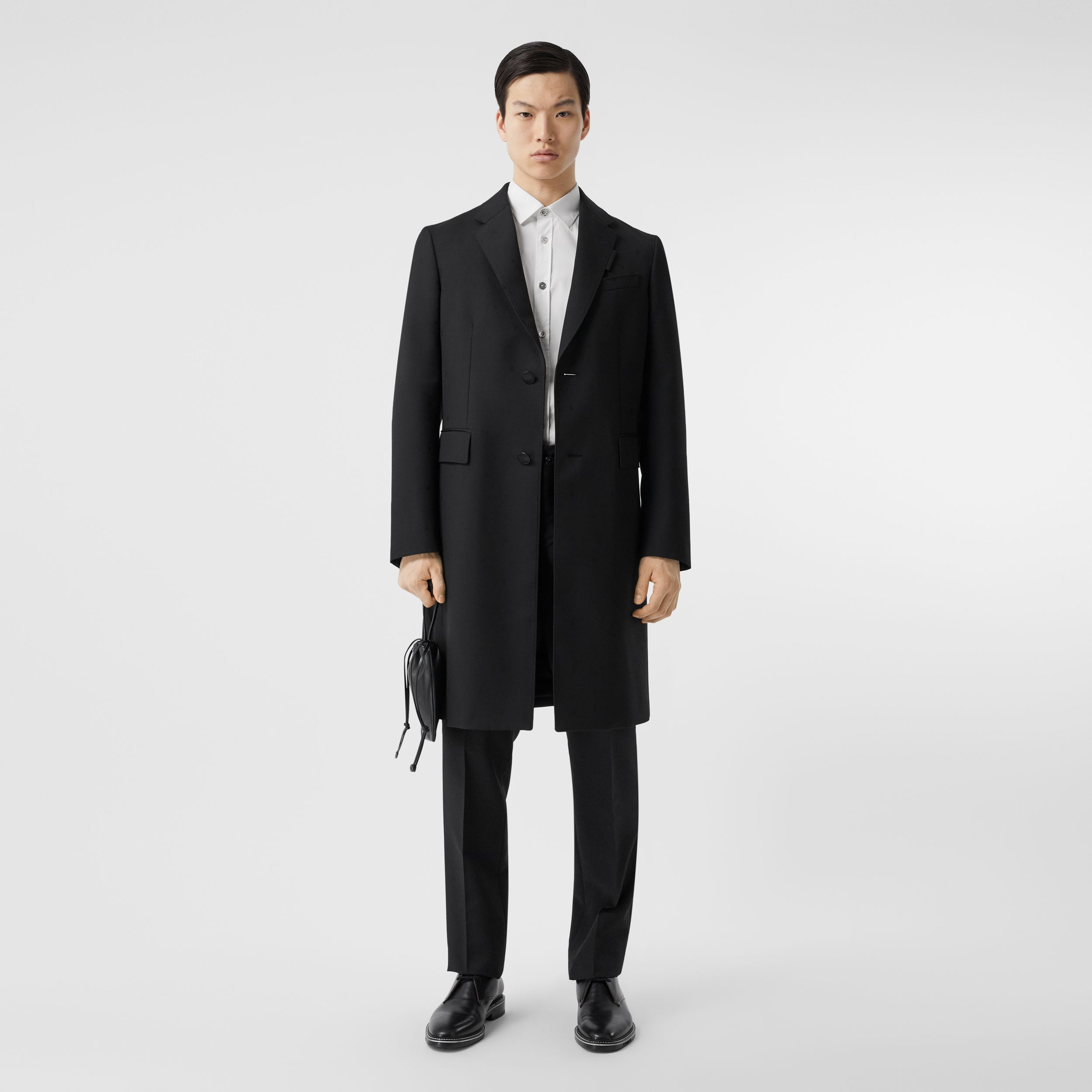 Wool Silk Tailored Coat in Black - Men | Burberry - 1