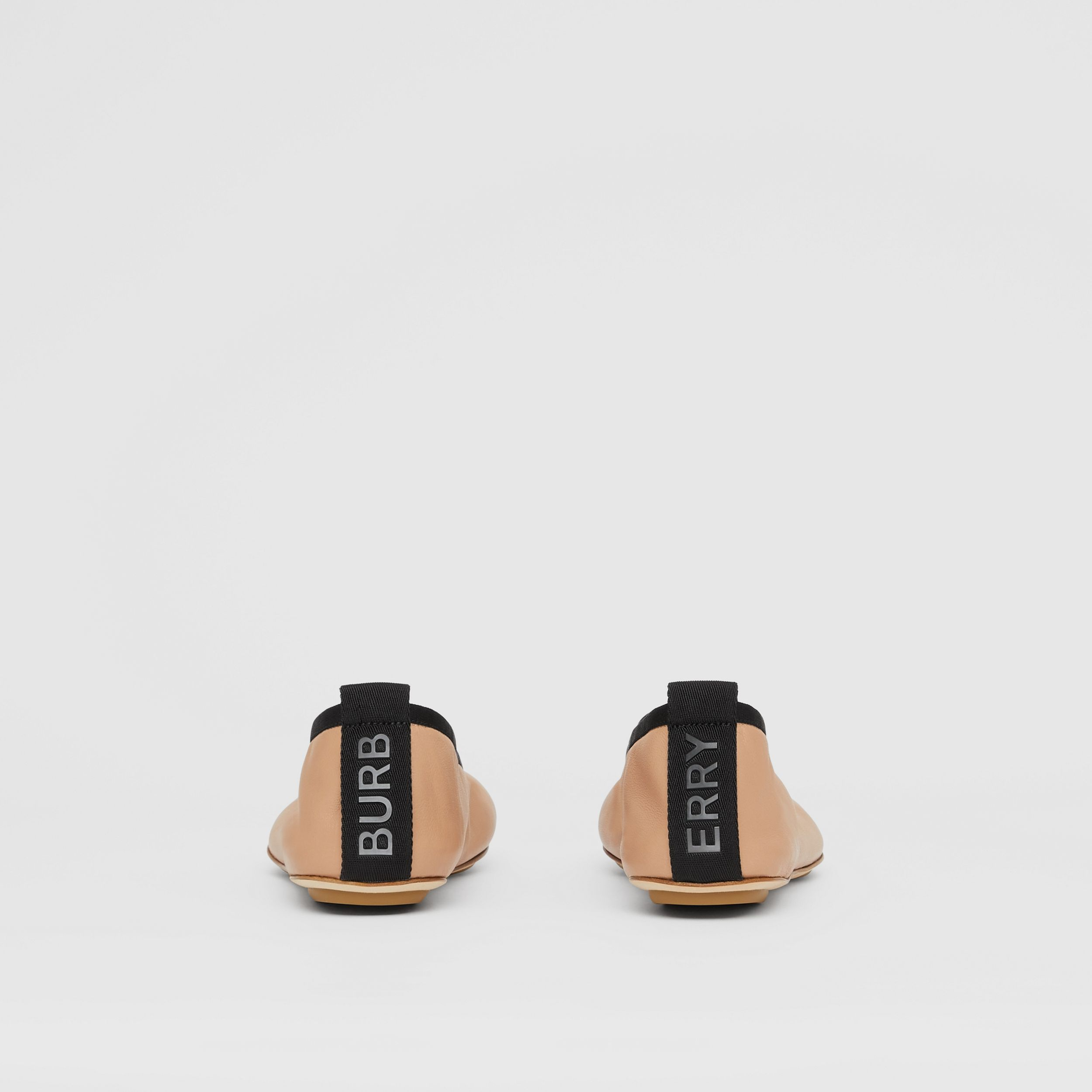 Logo Detail Lambskin Ballerinas in Camel - Women | Burberry - 4