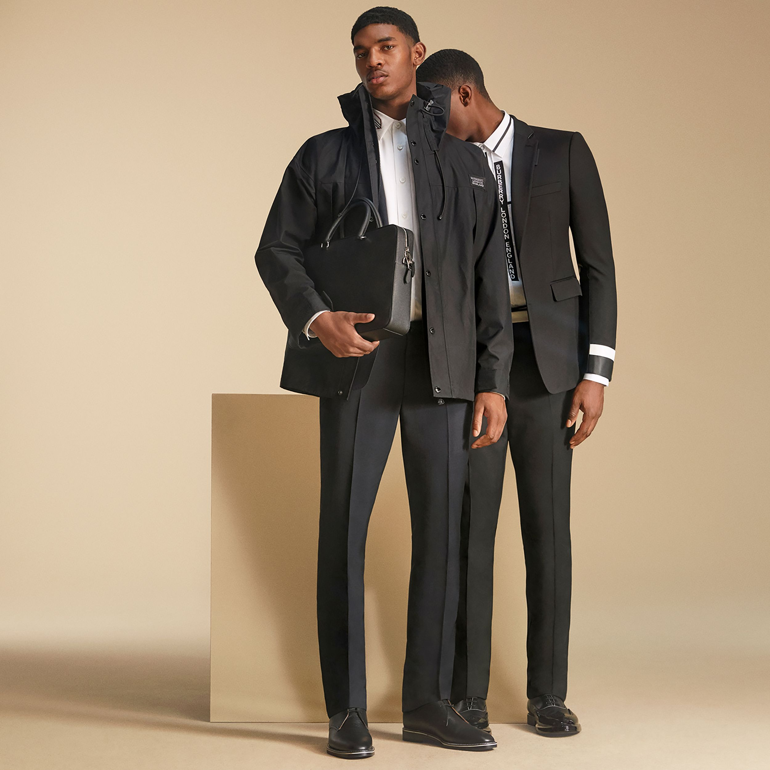 Classic Fit Lambskin Detail Wool Tailored Jacket in Black - Men | Burberry - 3