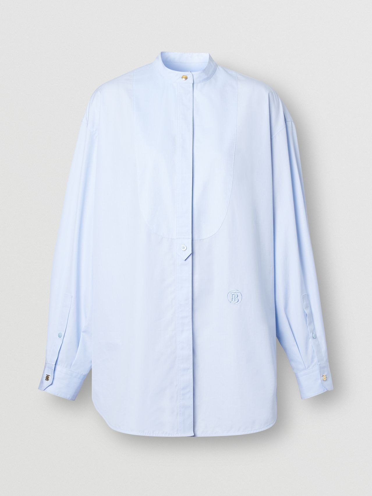 Monogram Motif Cotton Oversized Shirt in Pale Blue