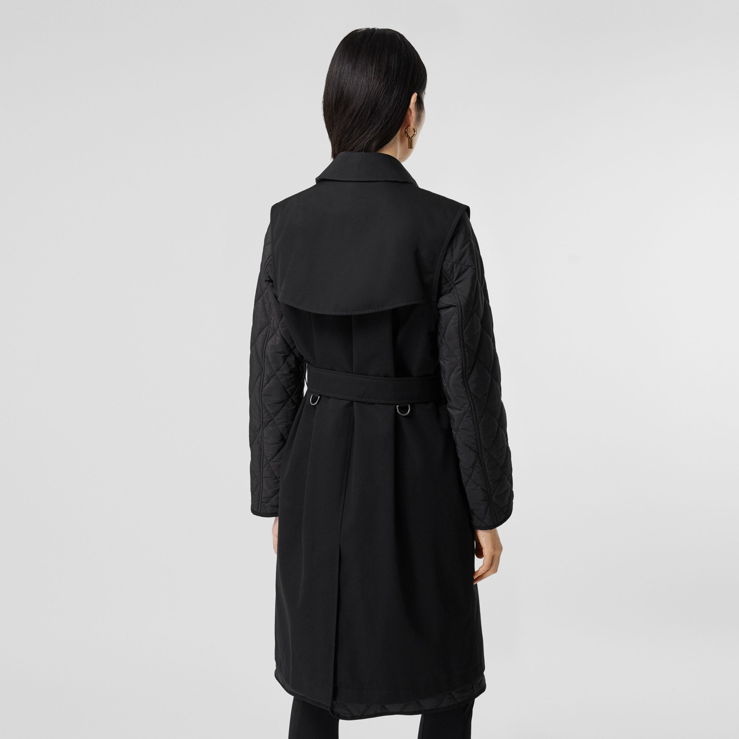 Sleeveless Trench Coat with Detachable Warmer in Black - Women | Burberry - 3