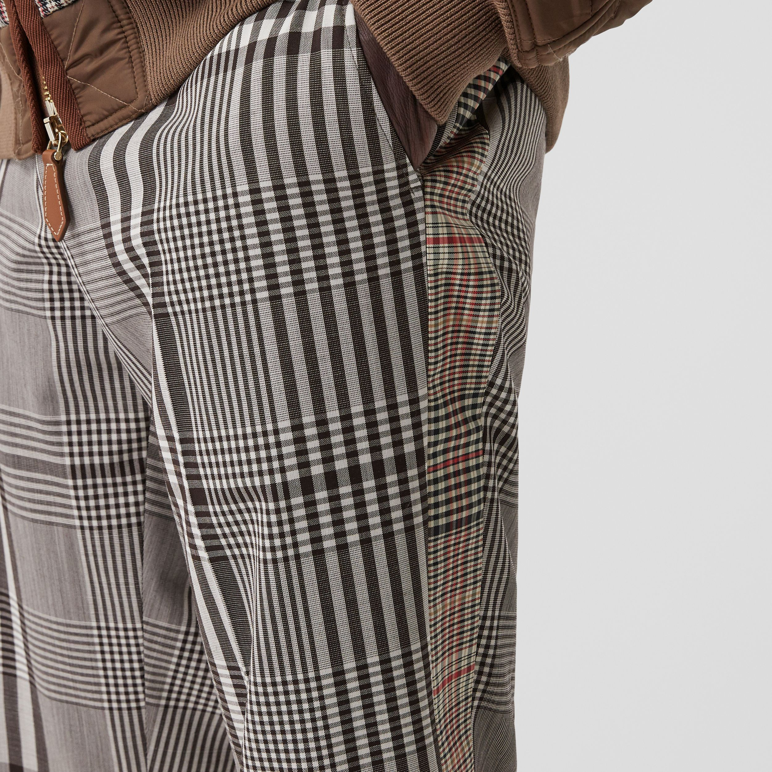 Check Technical Wool Tailored Trousers in Dark Brown | Burberry - 2
