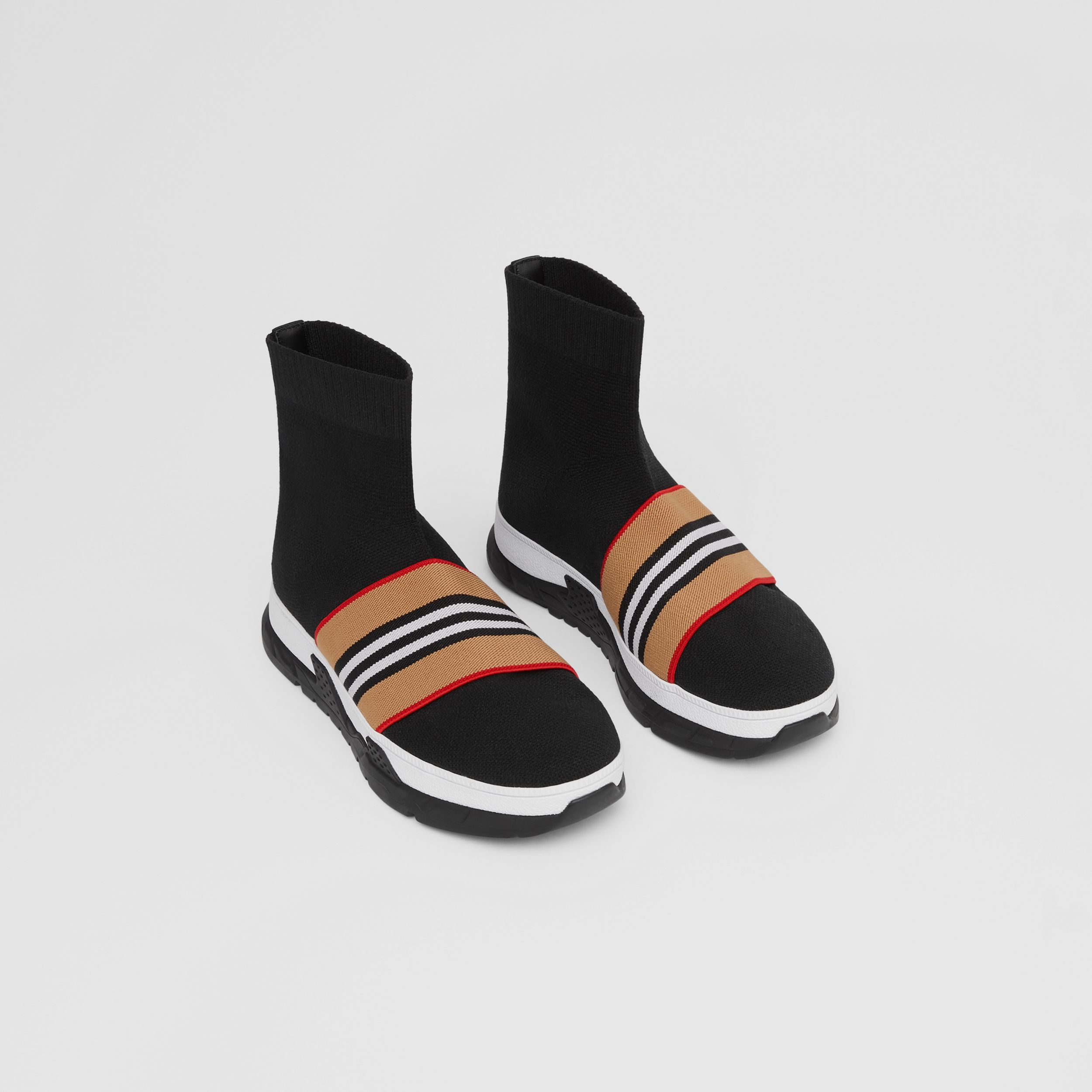 Icon Stripe Detail Stretch Knit Sock Sneakers in Black - Children | Burberry - 1