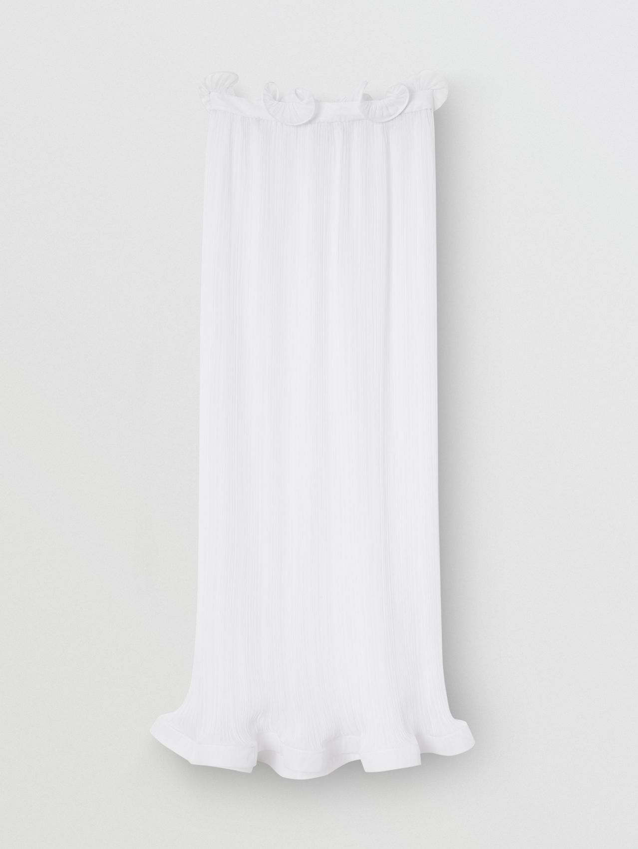 Ruffle Detail Chiffon Plissé Skirt in Optic White
