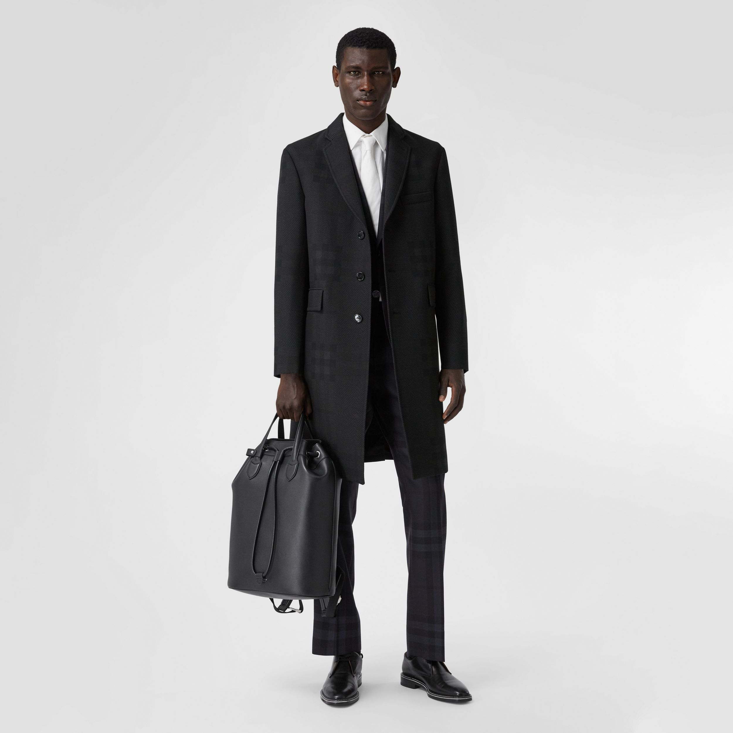 Check Wool Jacquard Tailored Coat in Charcoal Black - Men | Burberry - 1