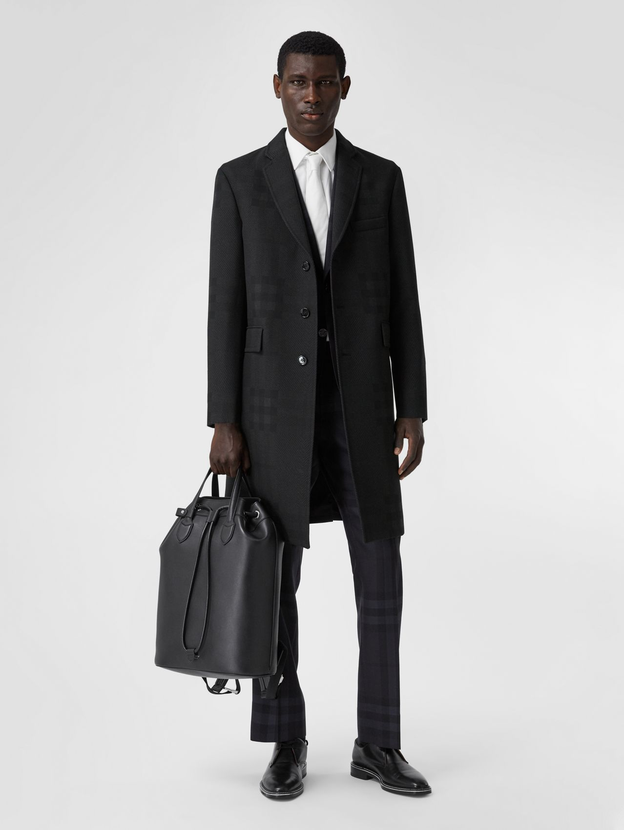 Check Wool Jacquard Tailored Coat in Charcoal Black