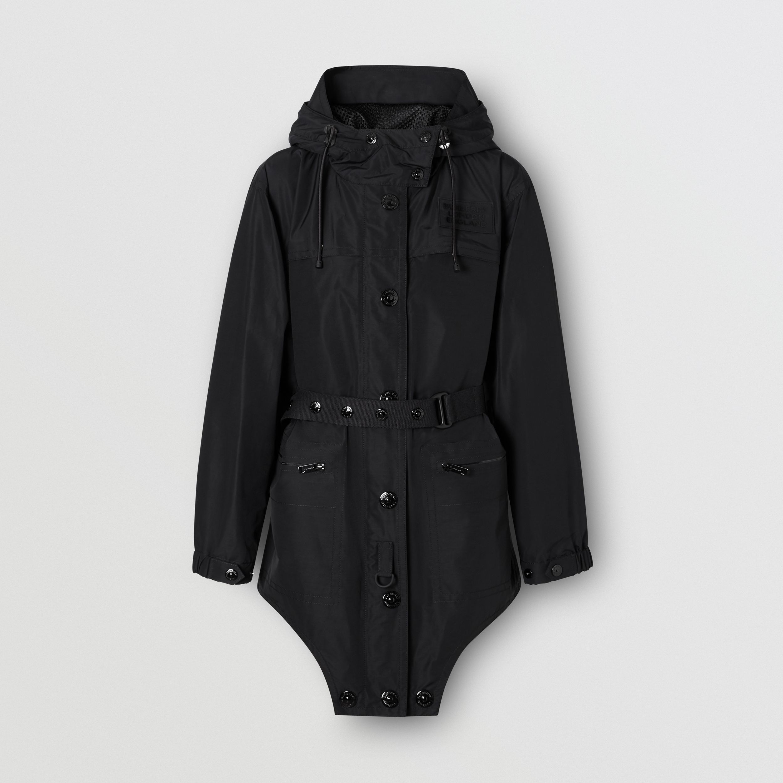 Cut-out Hem Technical Cotton Parka in Black - Women | Burberry - 4
