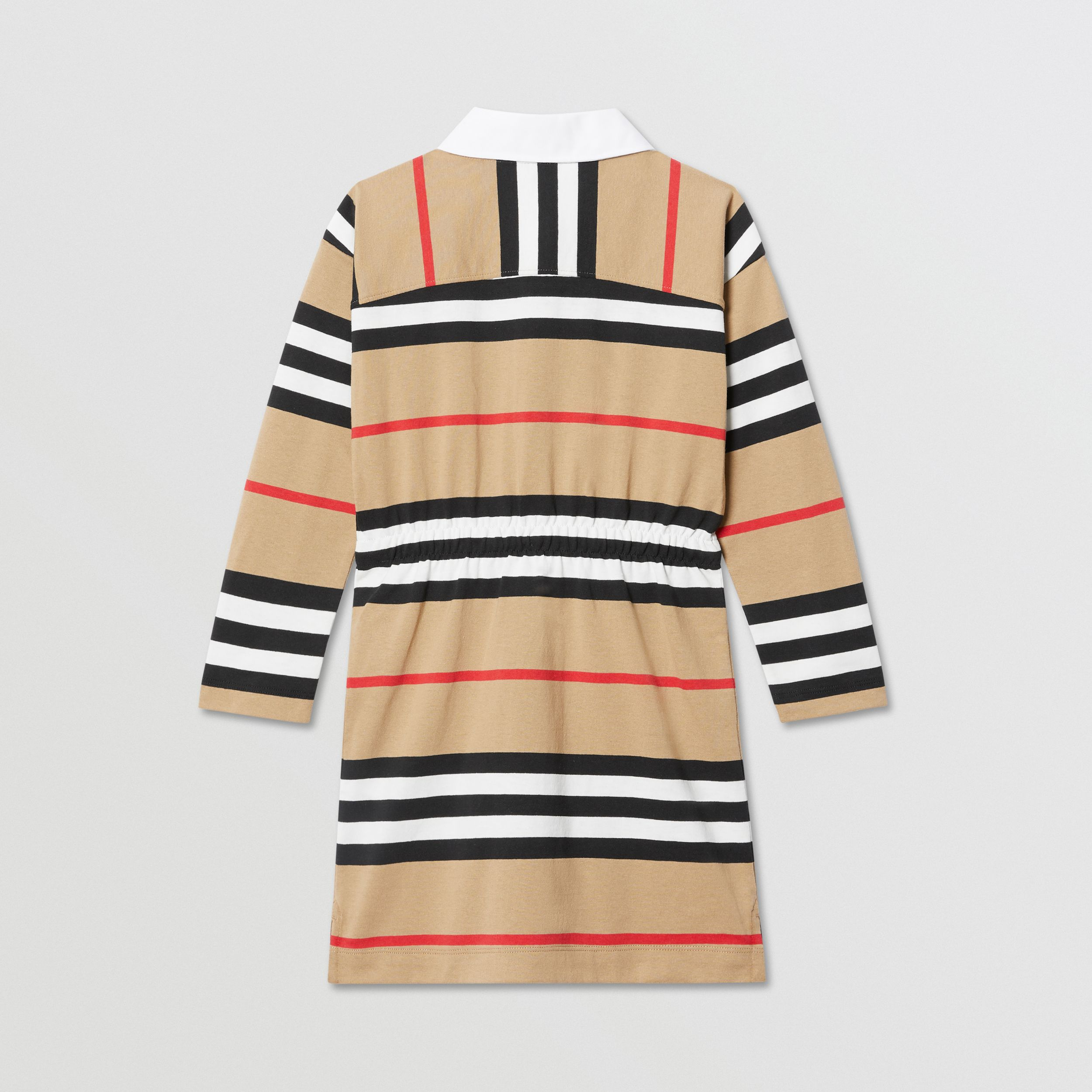 Long-sleeve Icon Stripe Cotton Dress in Archive Beige | Burberry - 4