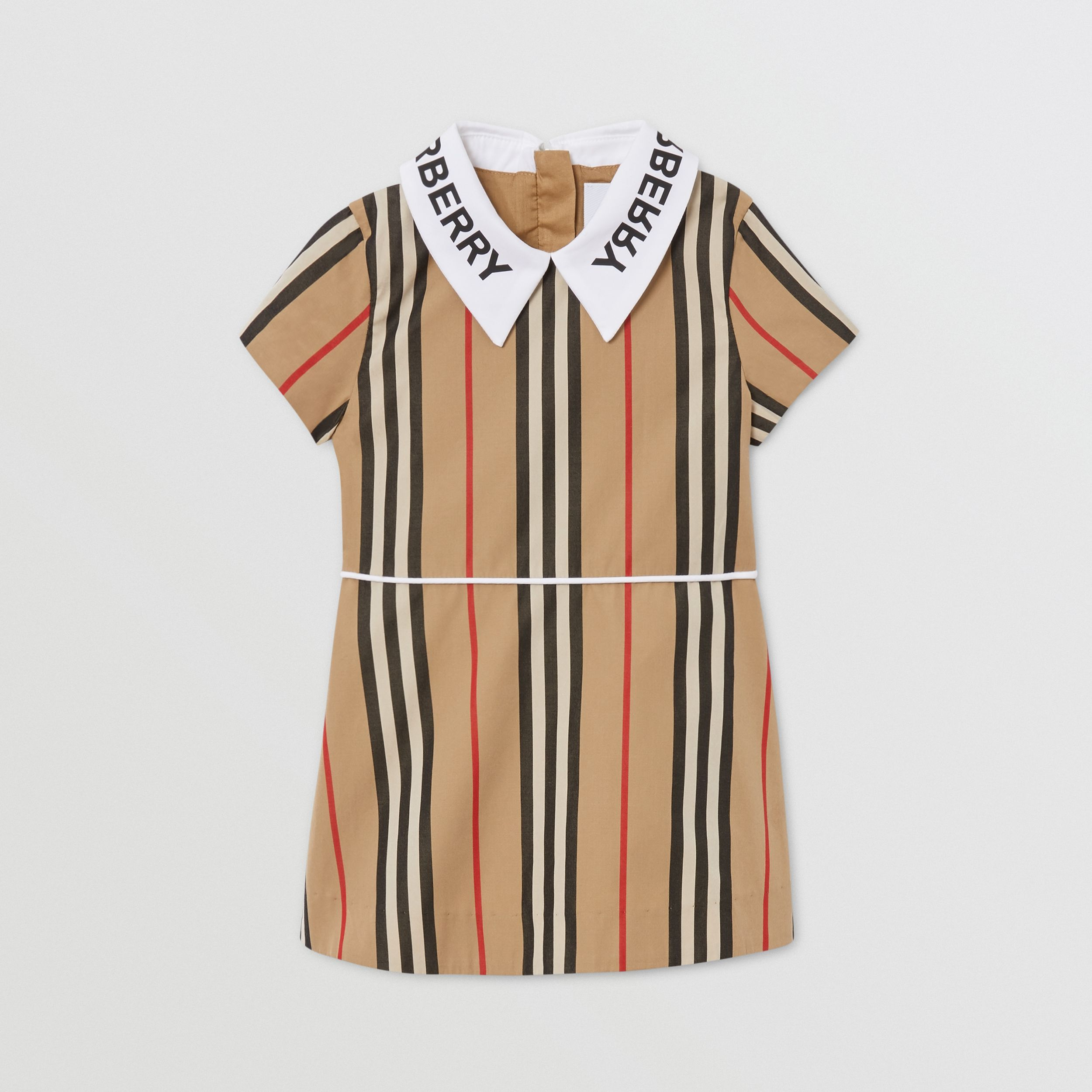 Logo Print Icon Stripe Cotton Poplin Dress in Archive Beige - Children | Burberry - 1