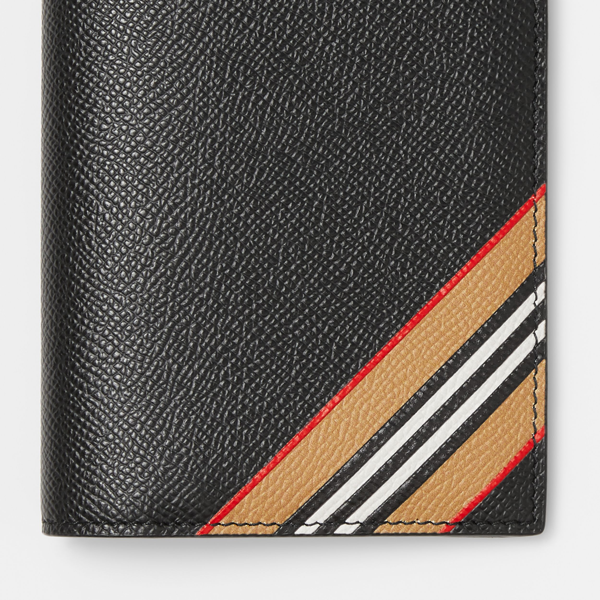 Icon Stripe Print Grainy Leather Continental Wallet in Black - Men | Burberry - 2