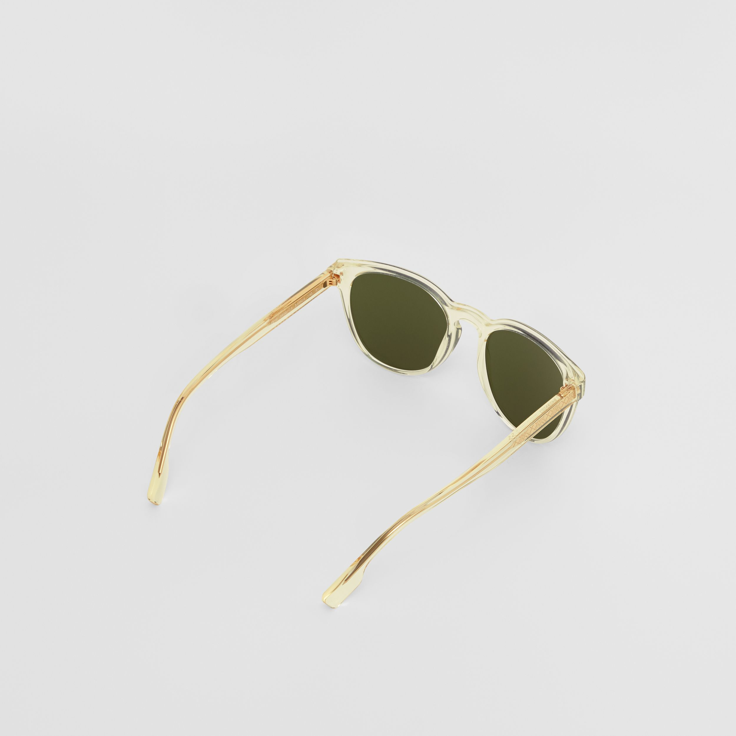 Round Frame Sunglasses in Pale Yellow - Men | Burberry - 4