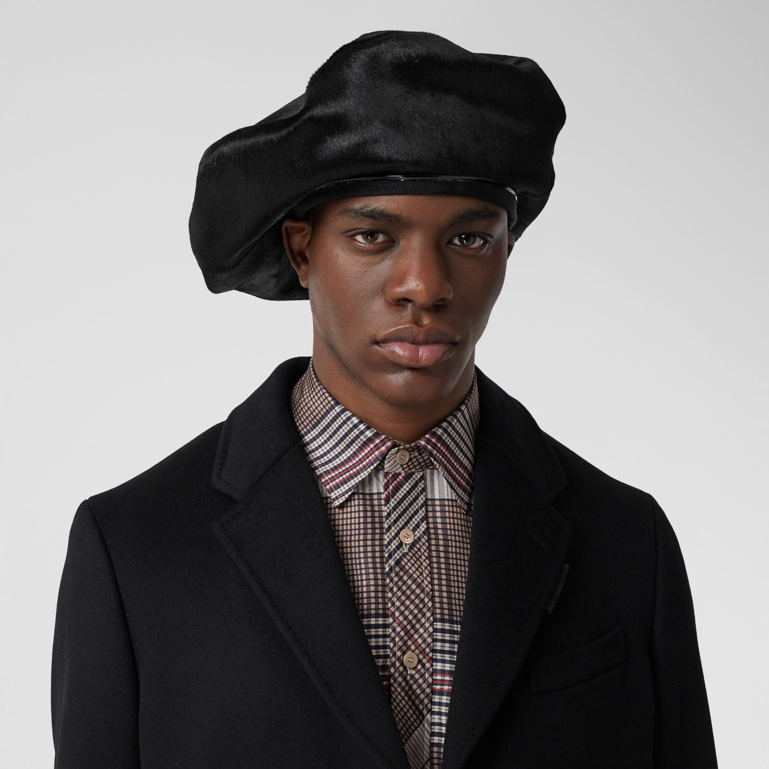Calf Hair Oversized Beret in Black | Burberry - 4