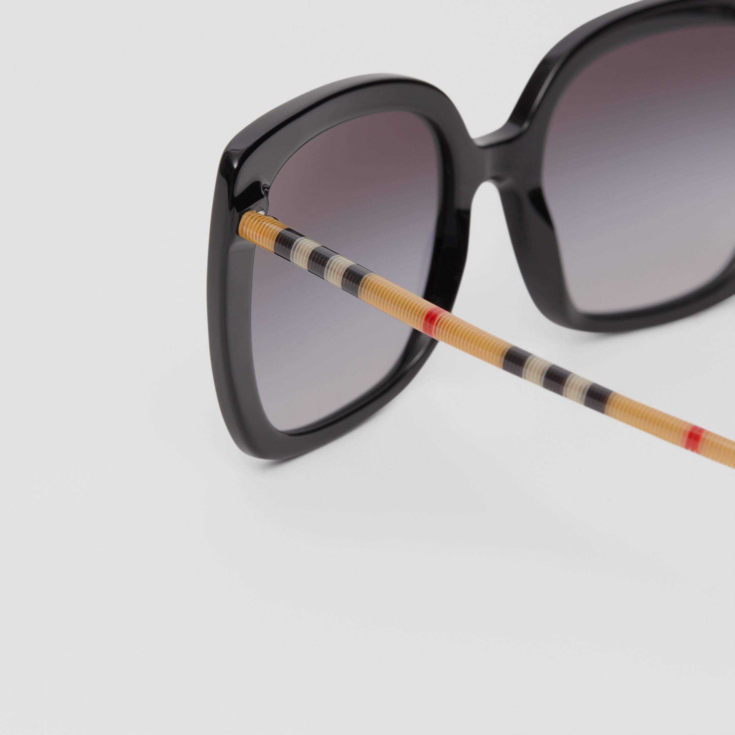 Oversized Square Frame Sunglasses in Black - Women | Burberry - 2