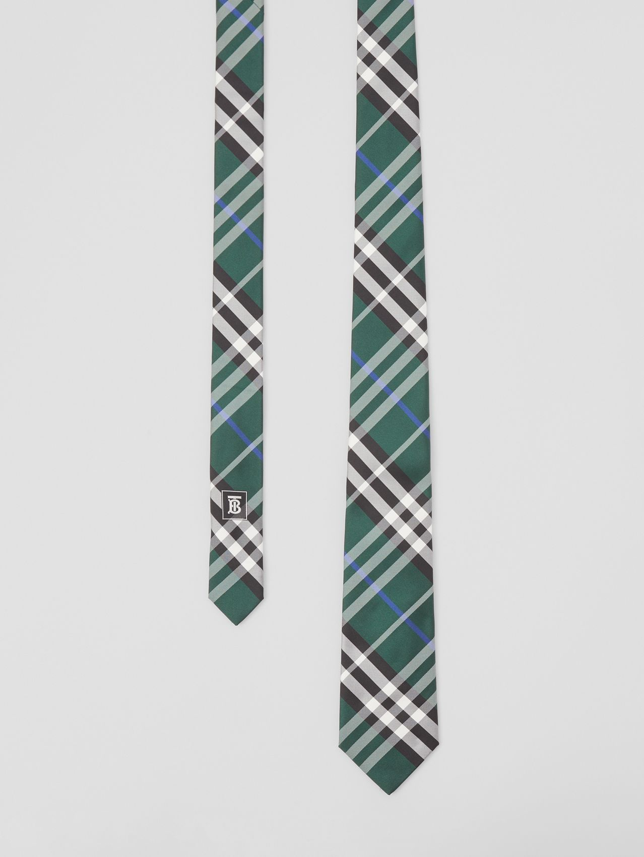 Modern Cut Check Silk Tie in Dark Forest Green