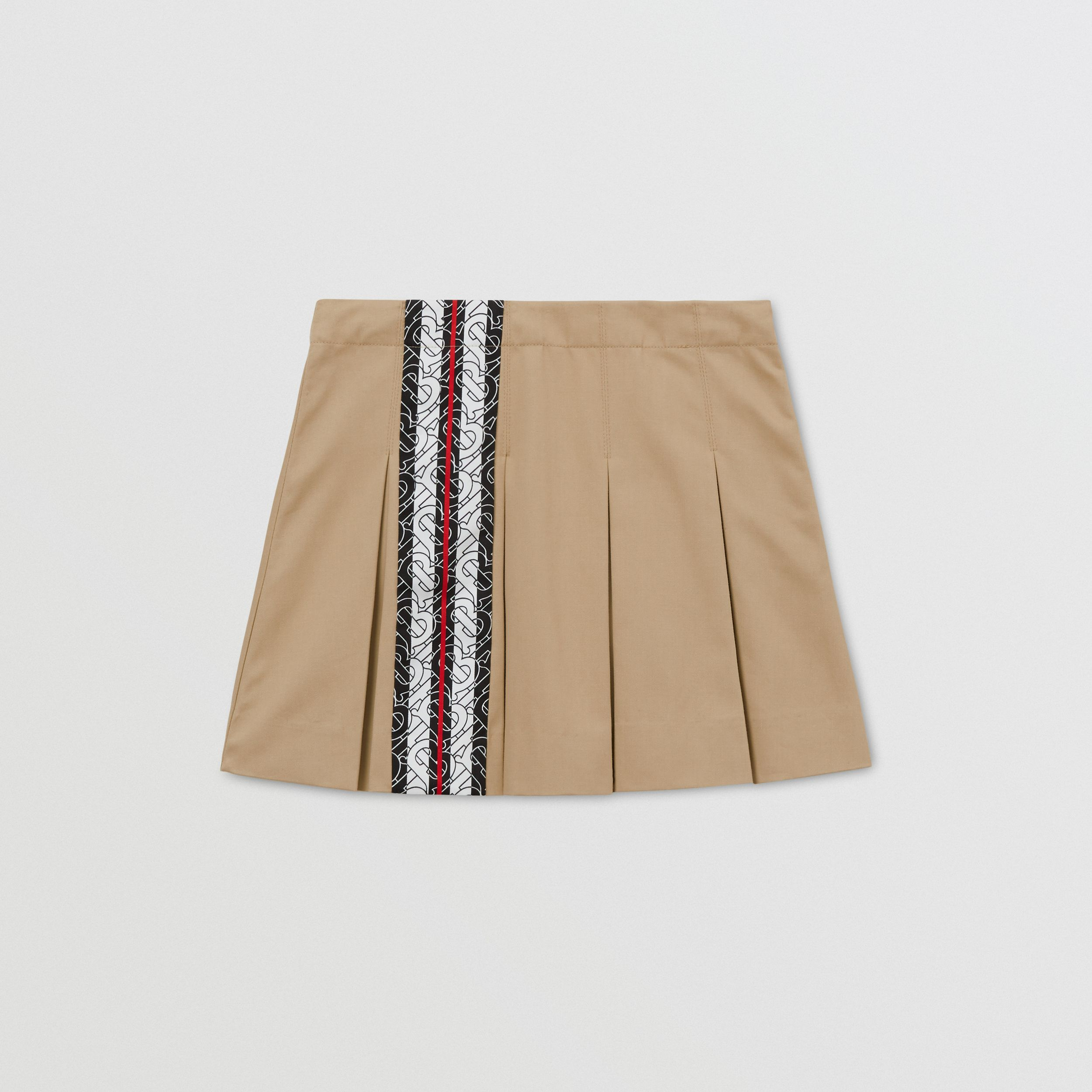 Monogram Stripe Print Cotton Skirt in Honey | Burberry - 1