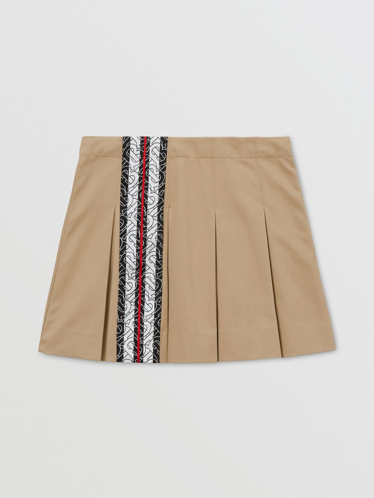 Monogram Stripe Print Cotton Skirt in Honey