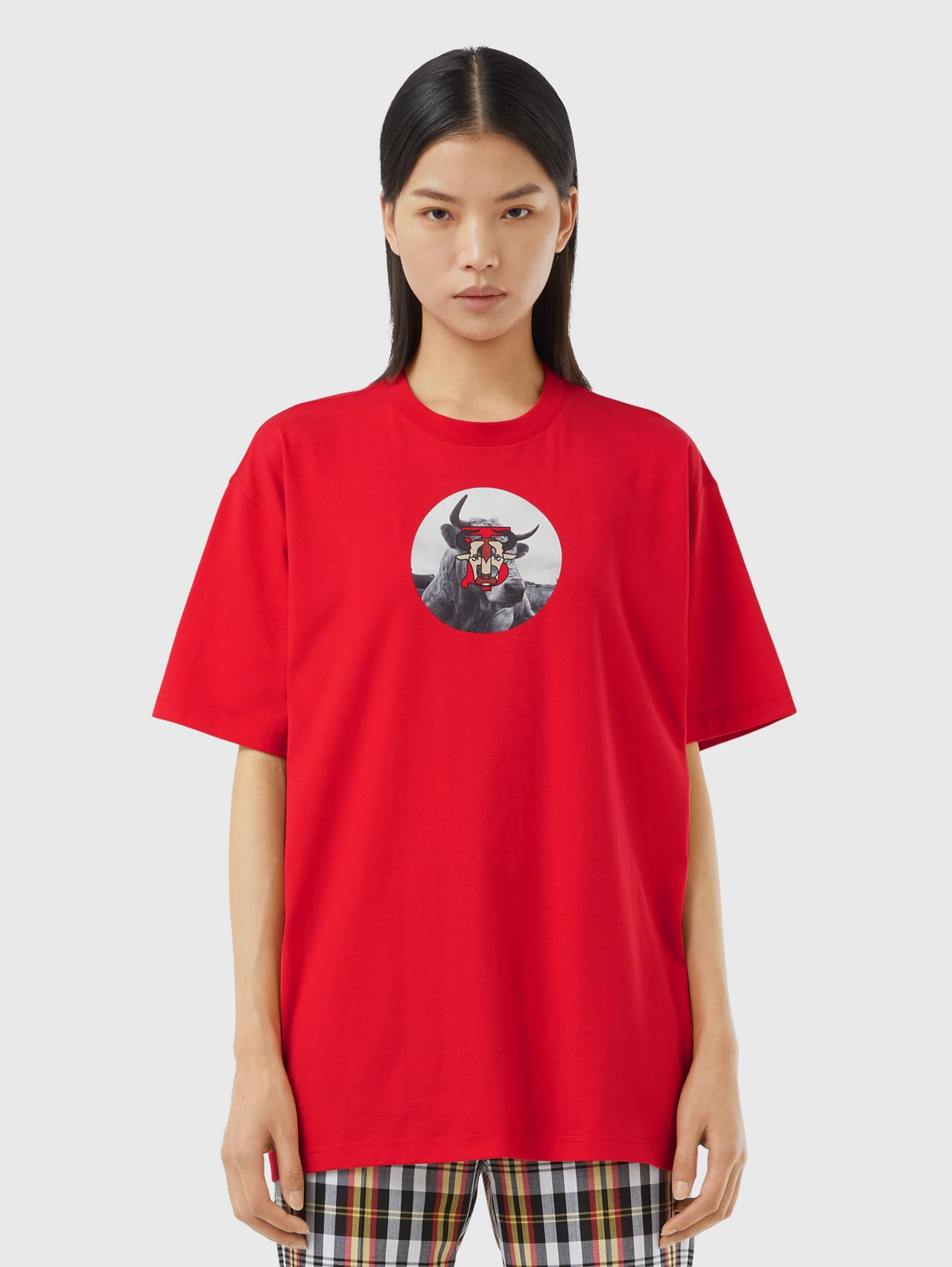 Montage Print Cotton T-shirt – Unisex in Bright Red