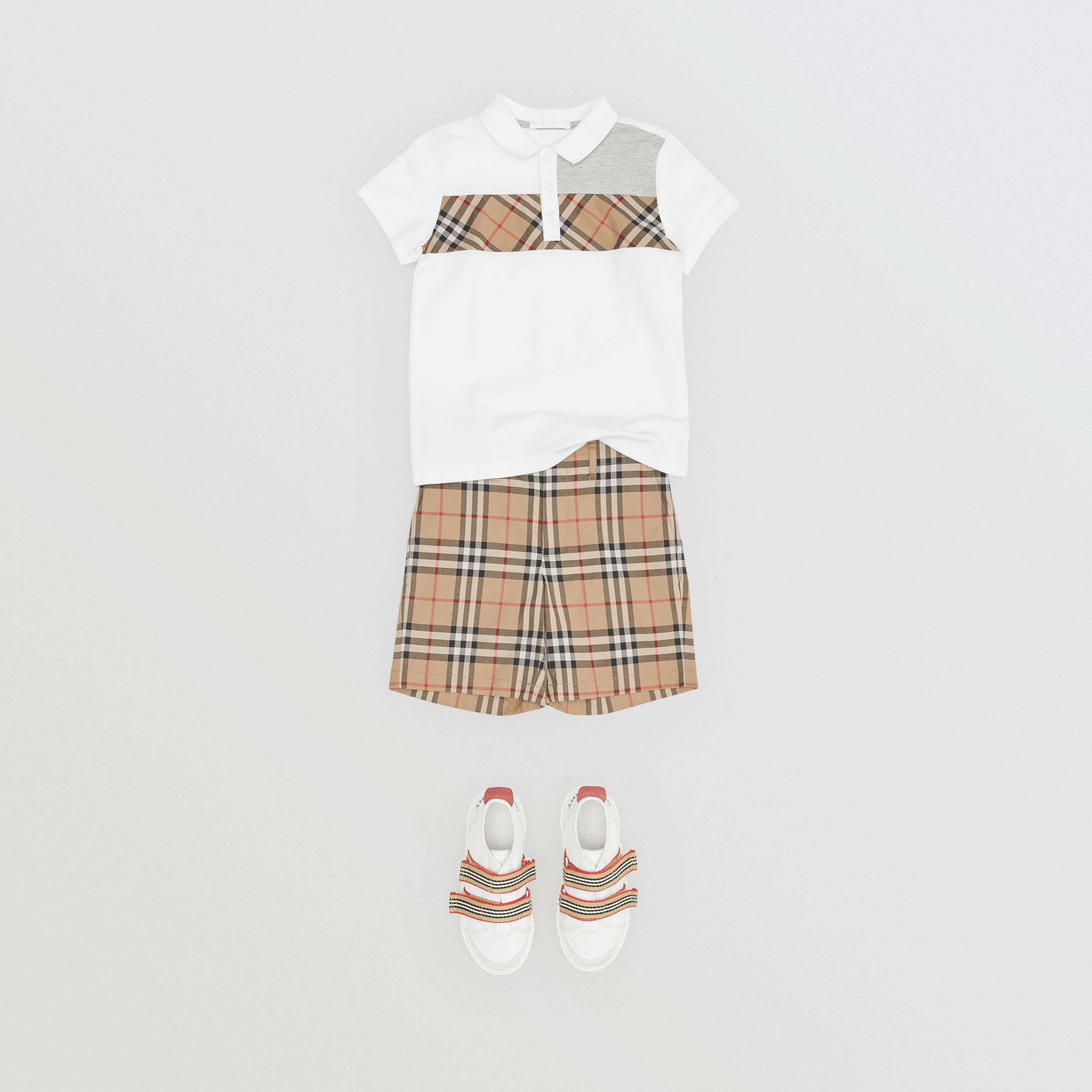 Vintage Check Panel Cotton Polo Shirt in White | Burberry - 4