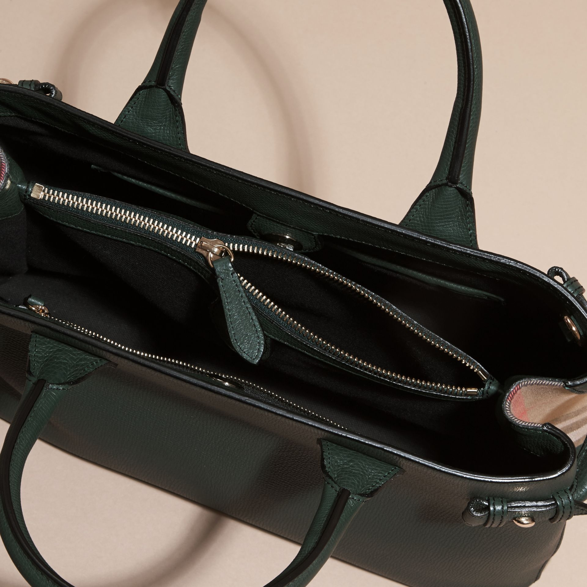 The Medium Banner in Leather and House Check in Dark Bottle Green - Women | Burberry - gallery image 5