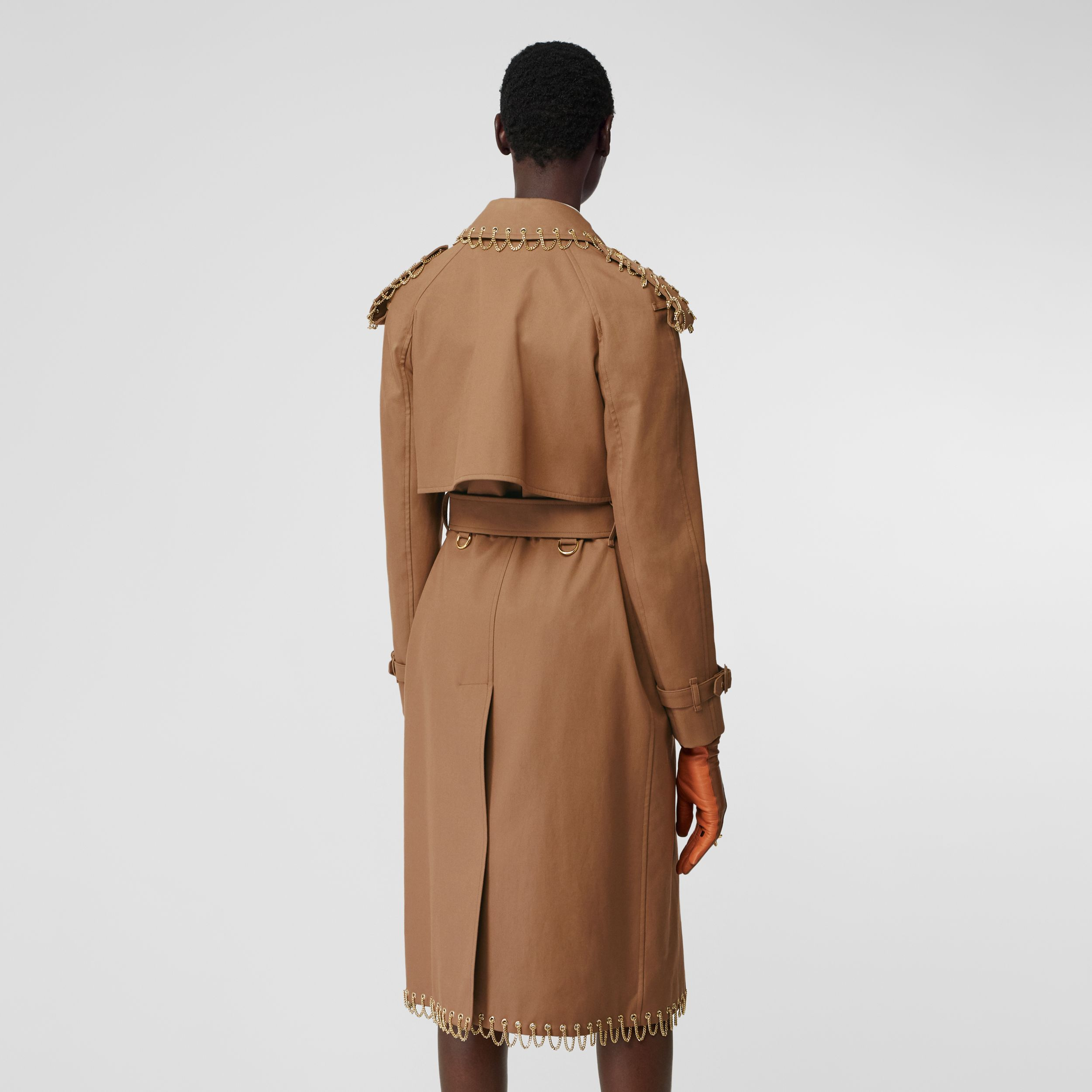 Chain Detail Cotton Gabardine Trench Coat in Warm Walnut - Women | Burberry - 3
