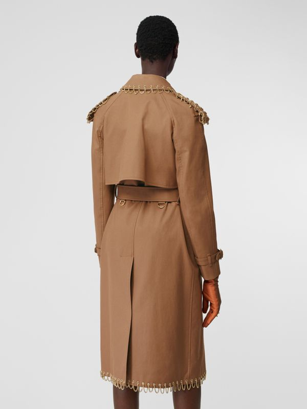 Chain Detail Cotton Gabardine Trench Coat in Warm Walnut - Women | Burberry - cell image 2