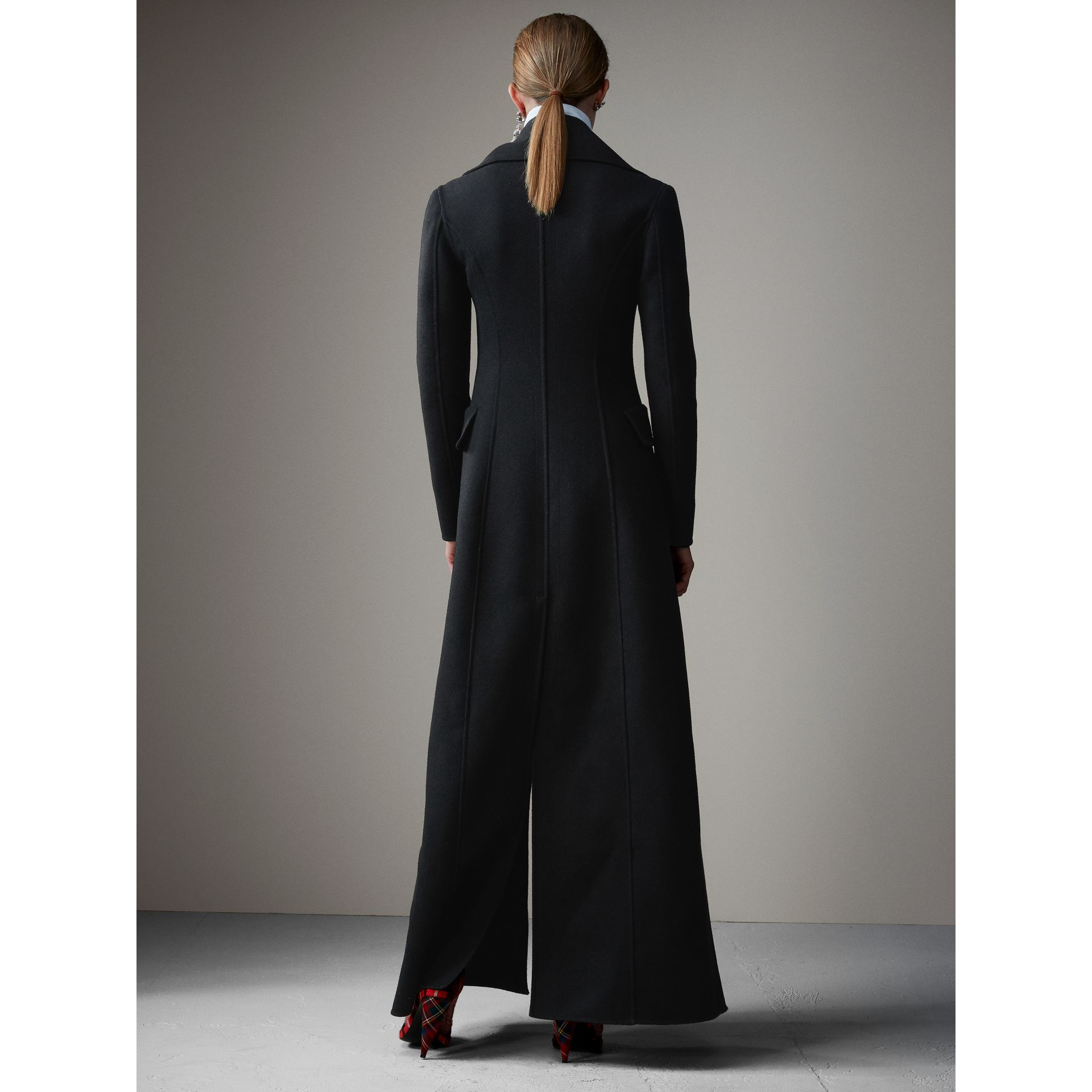 Felted Wool Full-length Tailored Coat in Black - Women | Burberry - gallery image 3