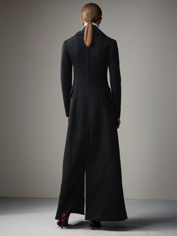 Felted Wool Full-length Tailored Coat in Black - Women | Burberry Singapore - cell image 2