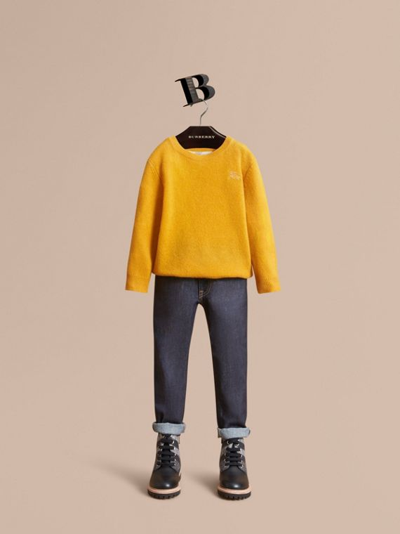 Check Elbow Patch Cashmere Sweater in Amber Yellow