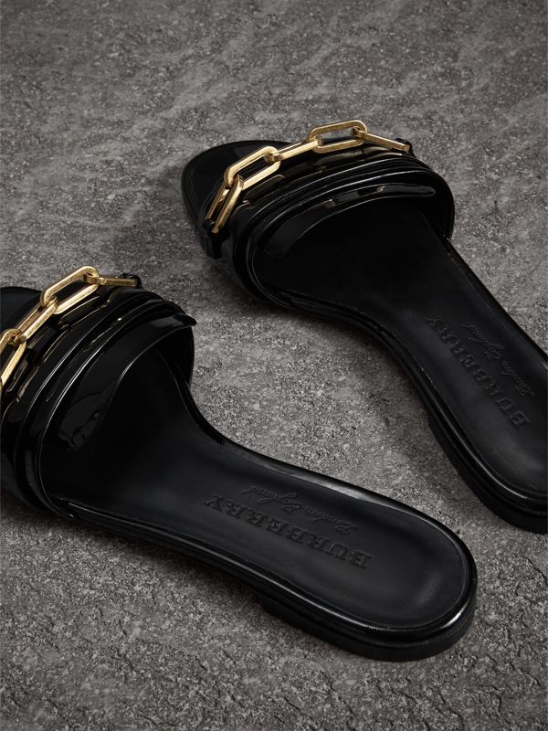 Link Detail Patent Leather Slides in Black - Women | Burberry United States - cell image 3