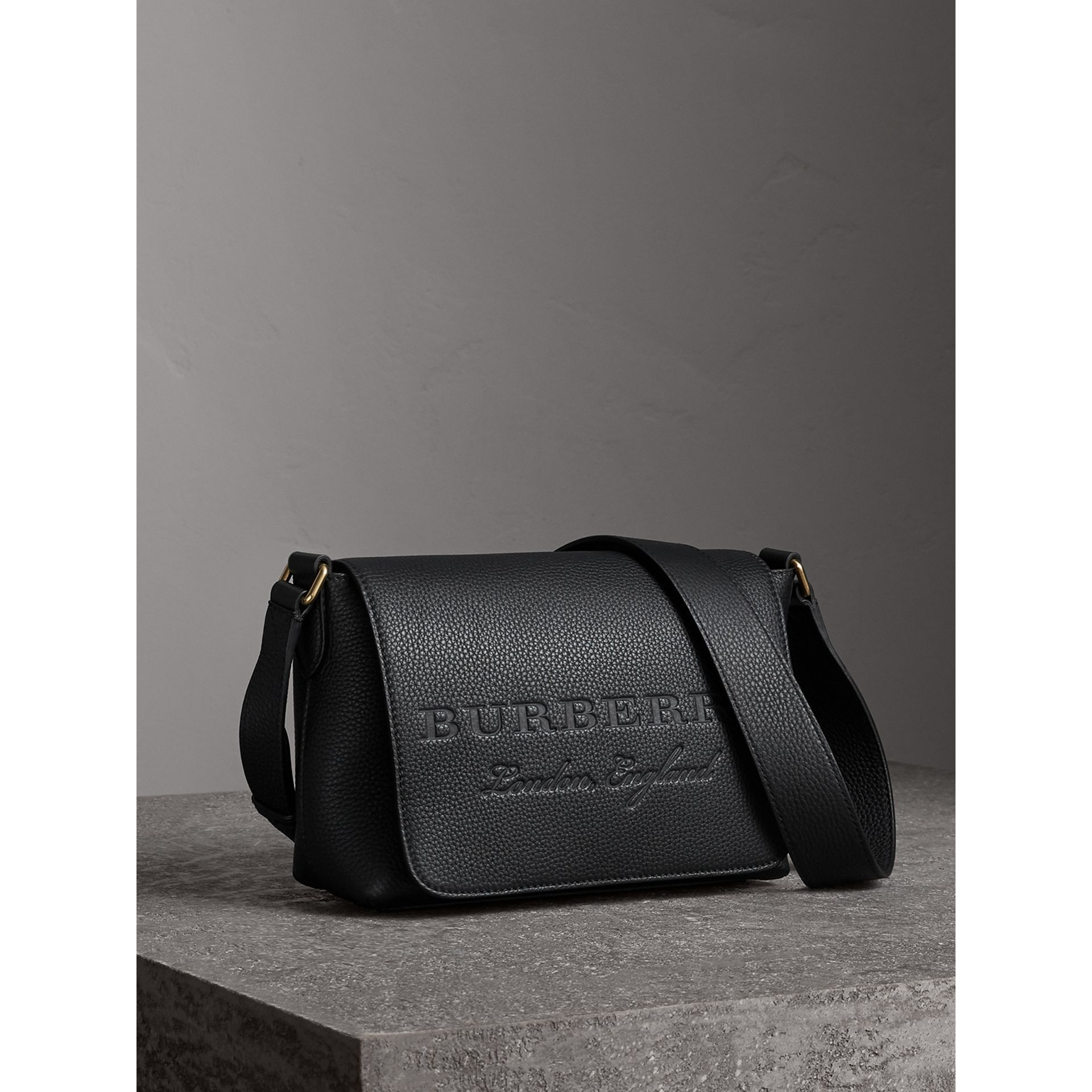 Small Embossed Leather Messenger Bag in Black - Women | Burberry - gallery image 6
