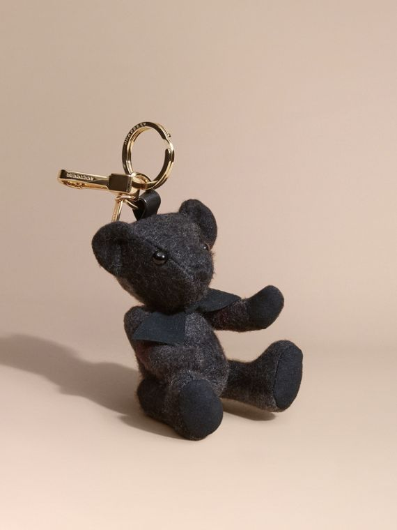 Thomas Bear Charm in Check Cashmere Charcoal