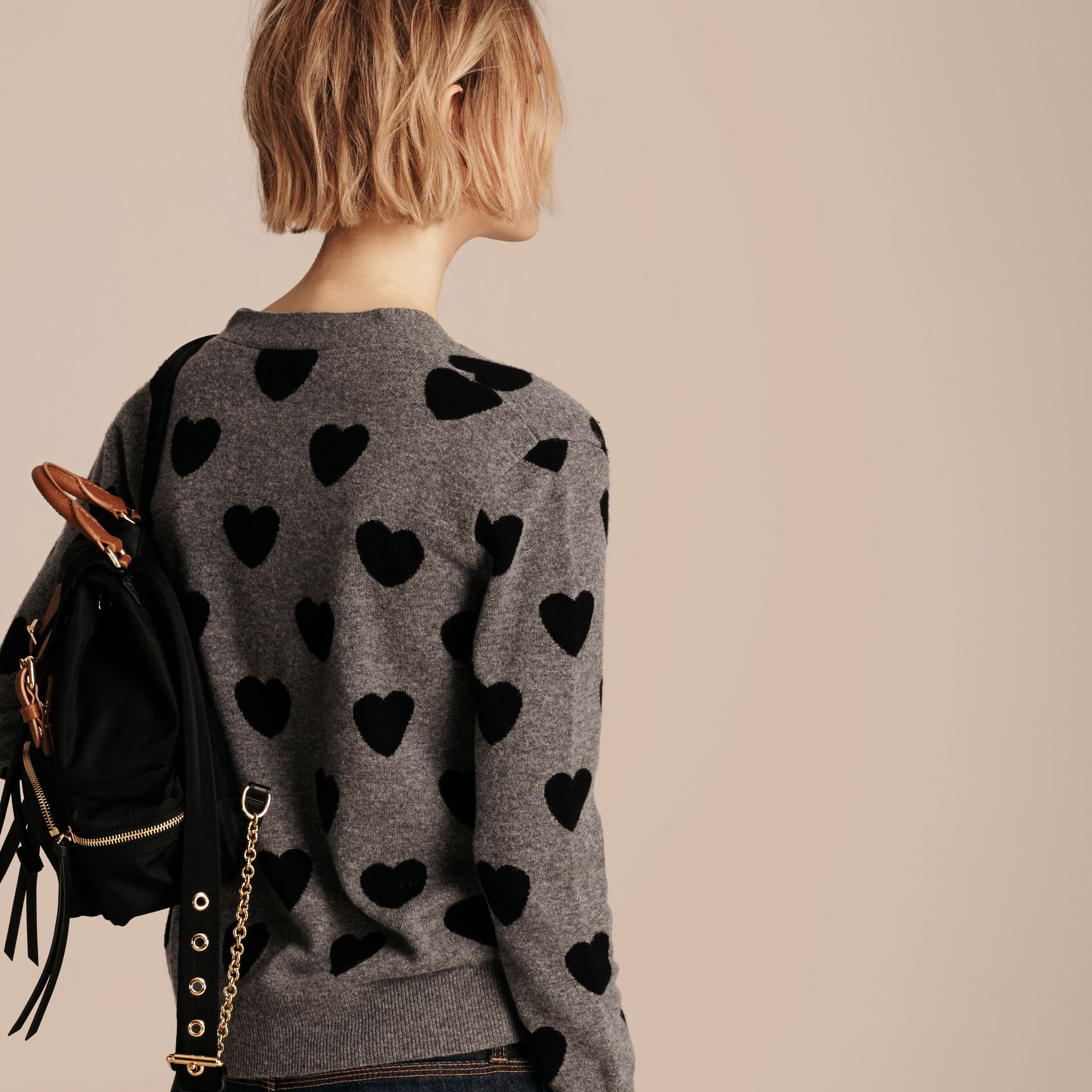 Heart Intarsia Merino Wool Cardigan in Mid Grey Melange - Women | Burberry - gallery image 3