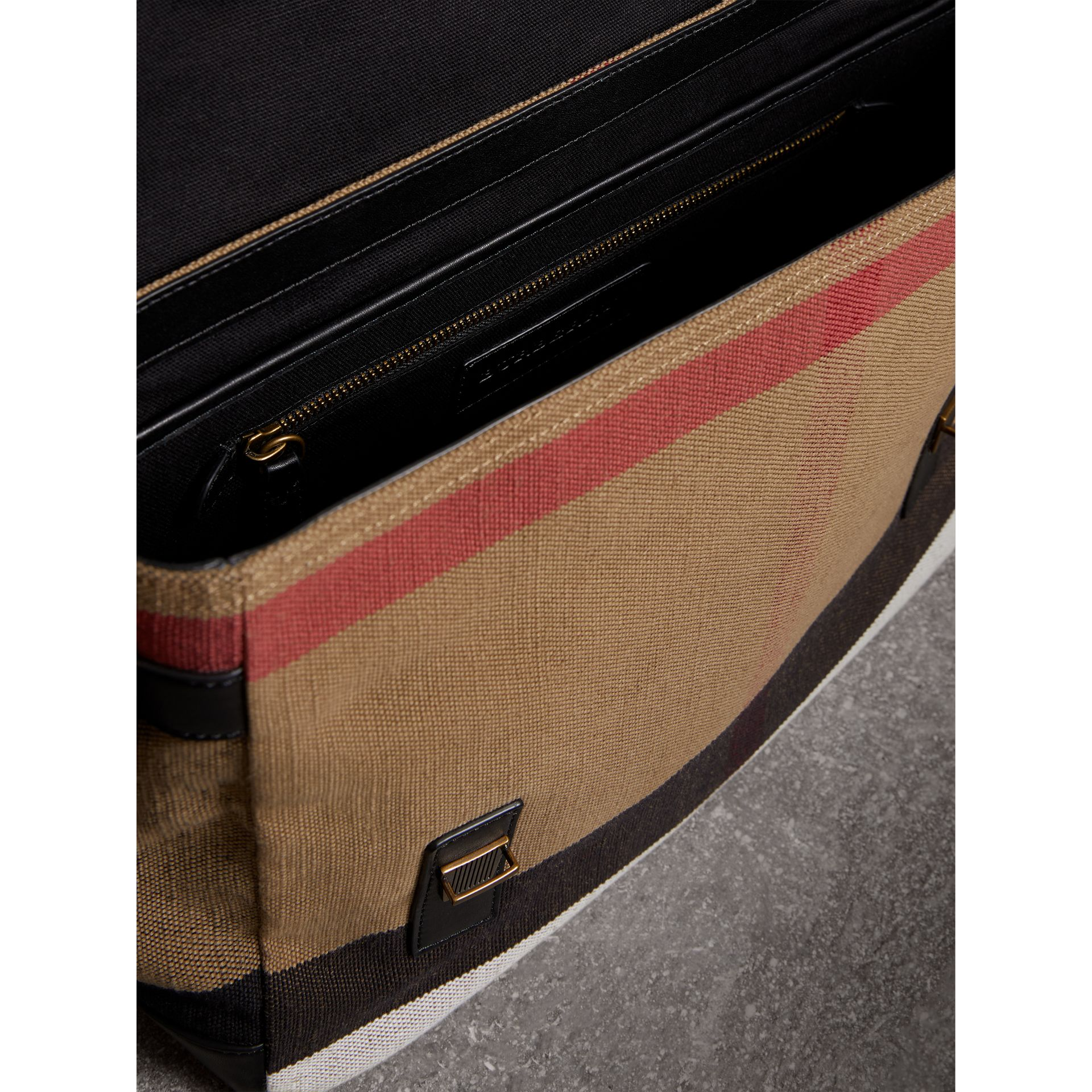 Large Leather Trim Canvas Check Messenger Bag in Black - Men | Burberry Australia - gallery image 4