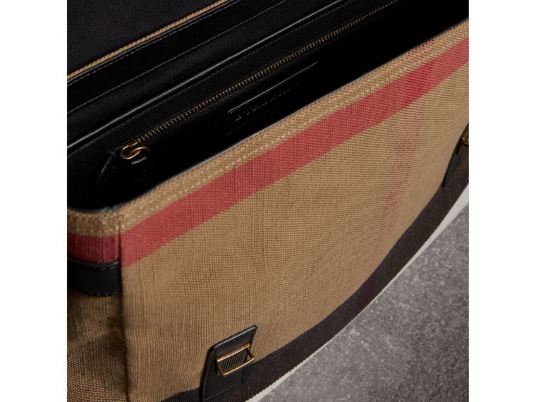 Large Leather Trim Canvas Check Messenger Bag in Black - Men | Burberry - cell image 4