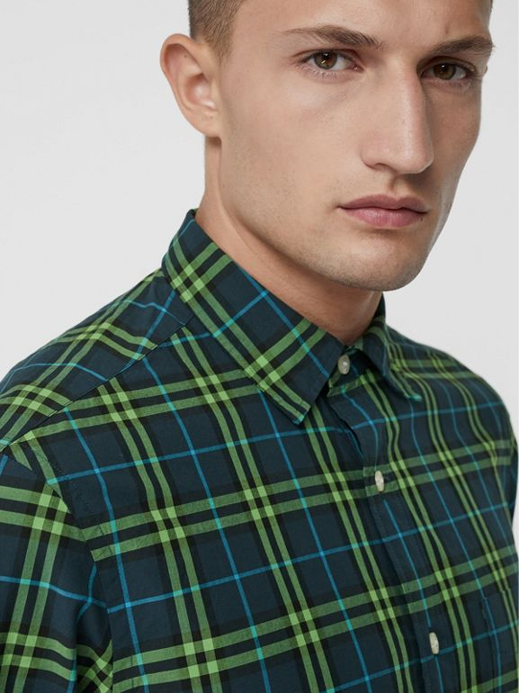 Check Cotton Shirt in Dark Pewter Blue - Men | Burberry Singapore - cell image 1