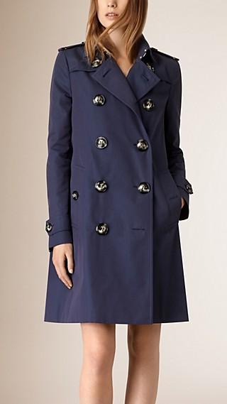 Trench coat svasato in gabardine di cotone