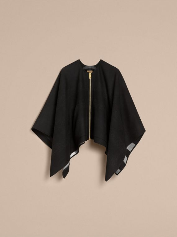 Merino Wool Poncho in Black - Women | Burberry Australia - cell image 3